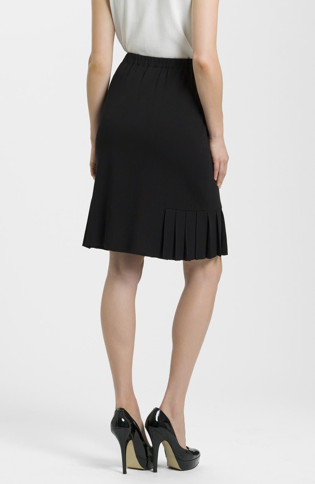 Side Pleat Knit Skirt,                             Alternate thumbnail 2, color,                             BLACK