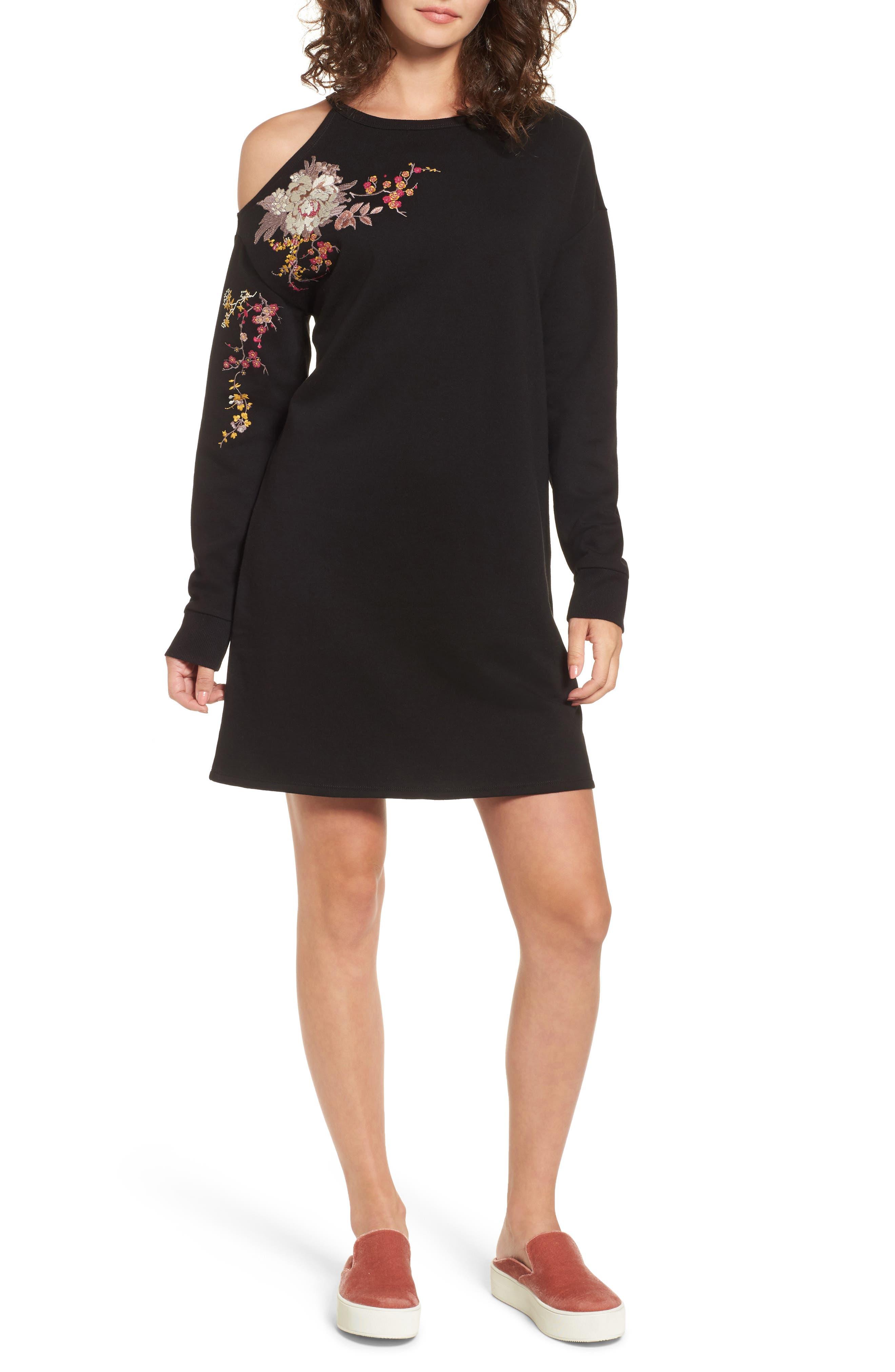 Embroidered Sweatshirt Dress,                             Main thumbnail 1, color,                             001