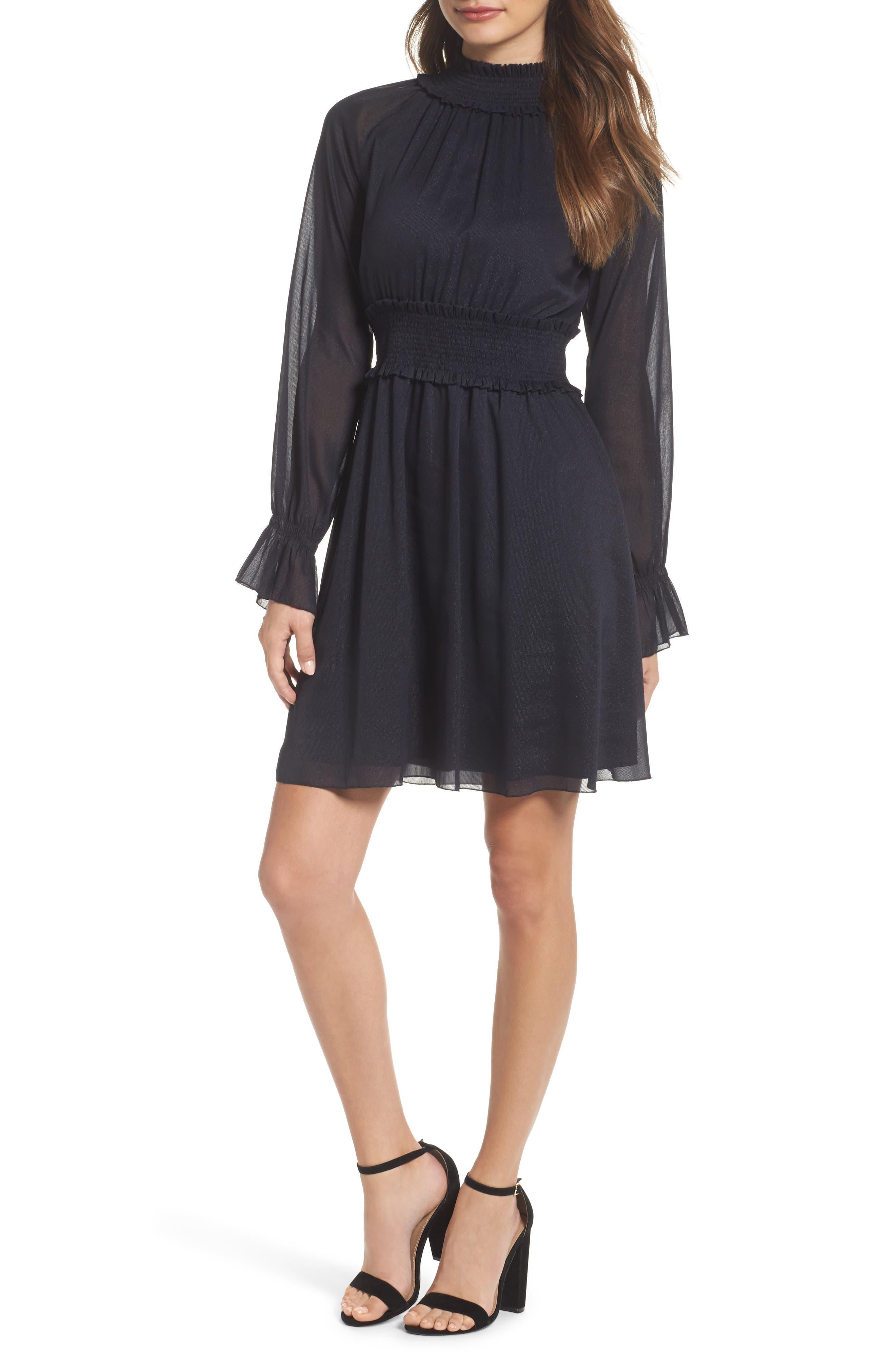 Smocked Long Sleeve Dress,                             Main thumbnail 1, color,                             410