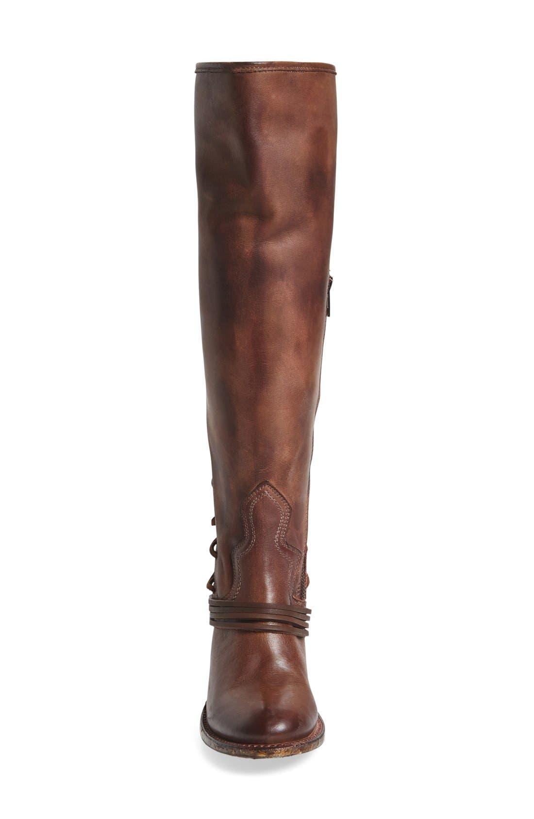 'Coal' Tall Leather Boot,                             Alternate thumbnail 3, color,                             PLUM