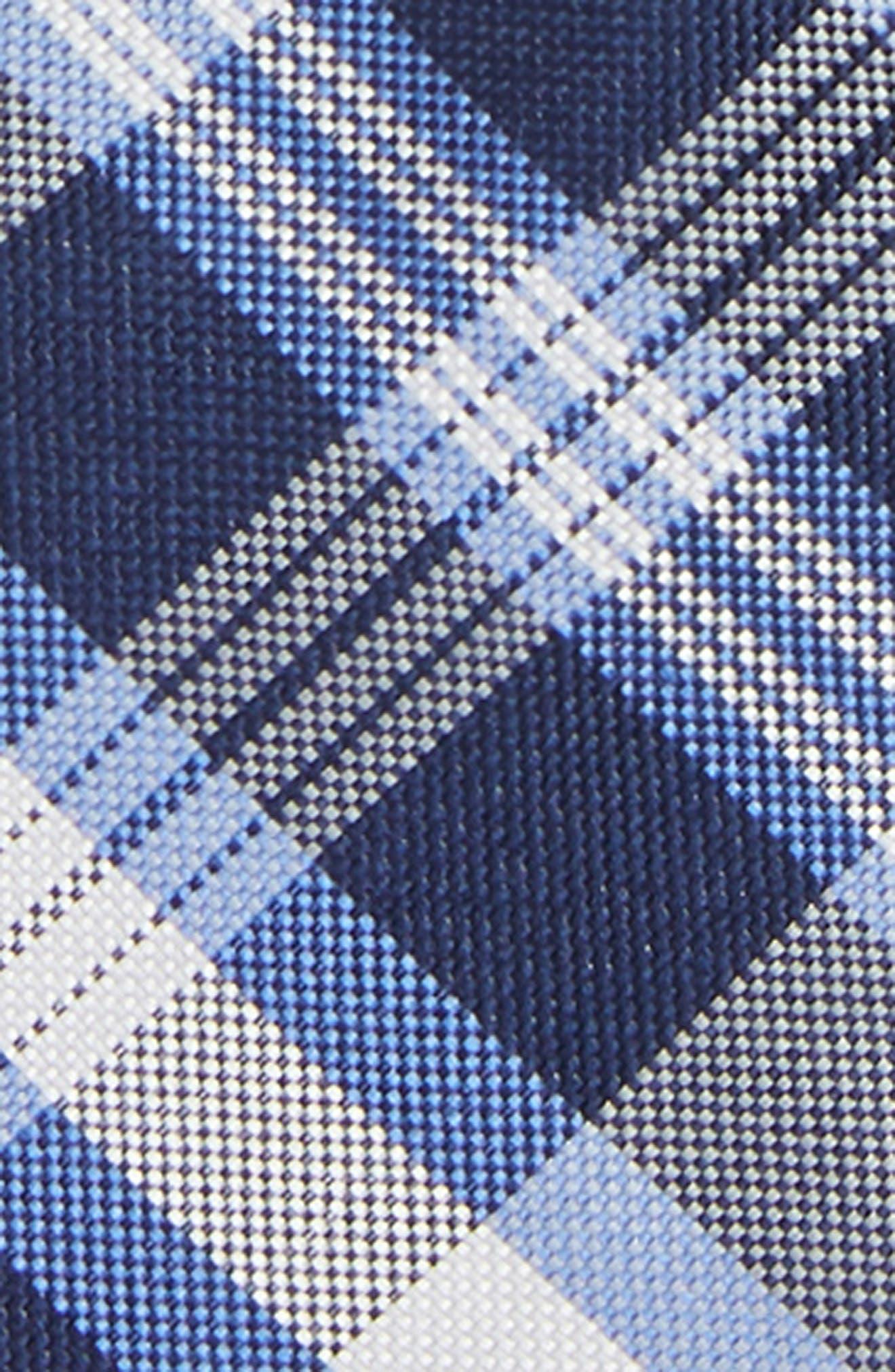 Plaid Silk Zip Tie,                             Alternate thumbnail 2, color,                             NAVY