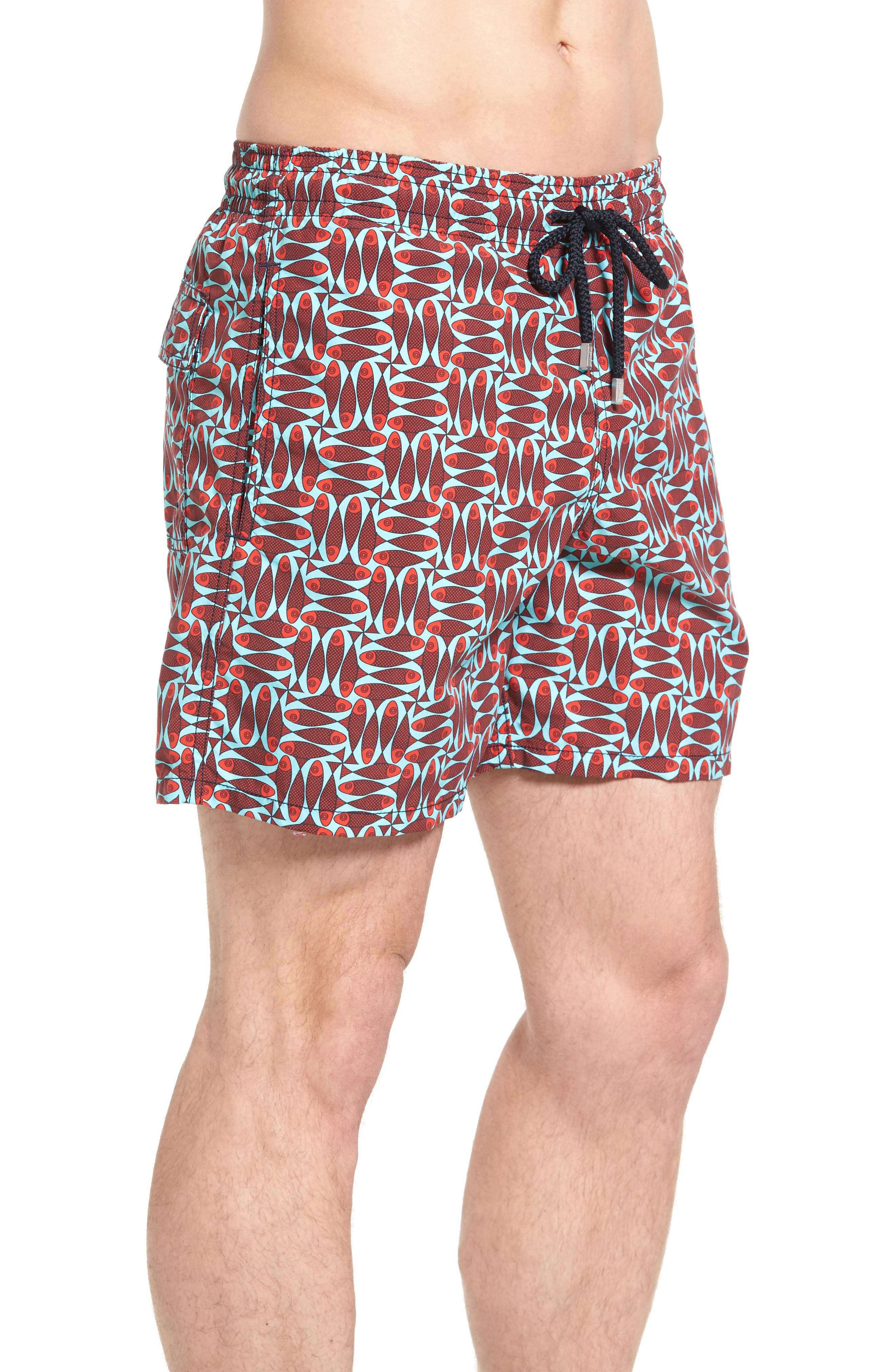 Check Fish Print Swim Trunks,                             Alternate thumbnail 3, color,                             POPPY RED