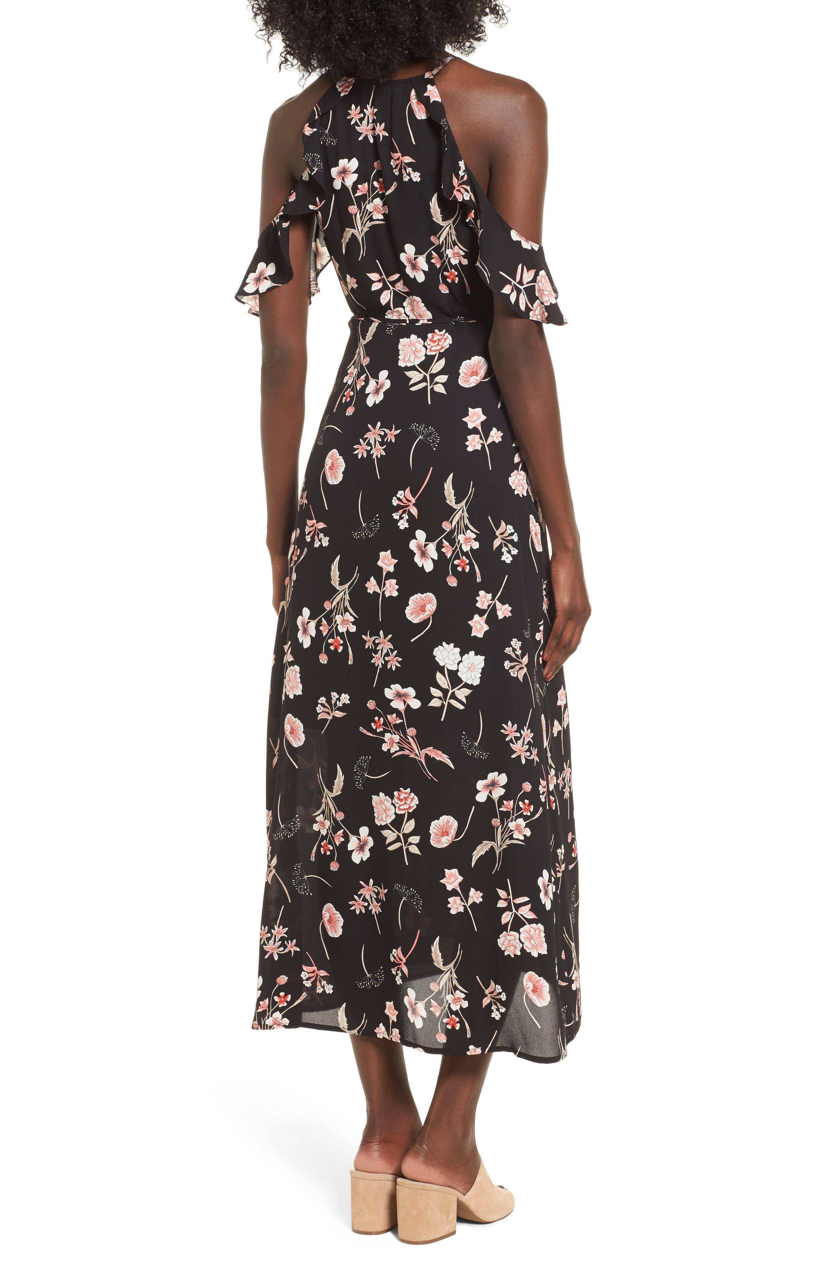 Floral Cold Shoulder Midi Dress,                             Alternate thumbnail 2, color,                             001