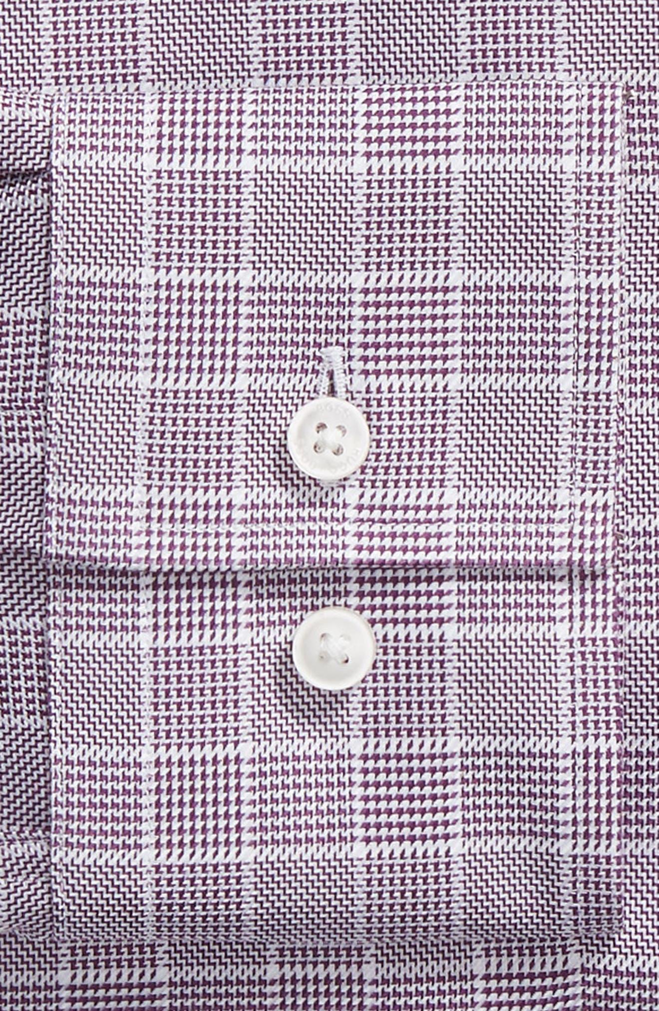 Jason Slim Fit Plaid Dress Shirt,                             Alternate thumbnail 6, color,                             504 PURPLE