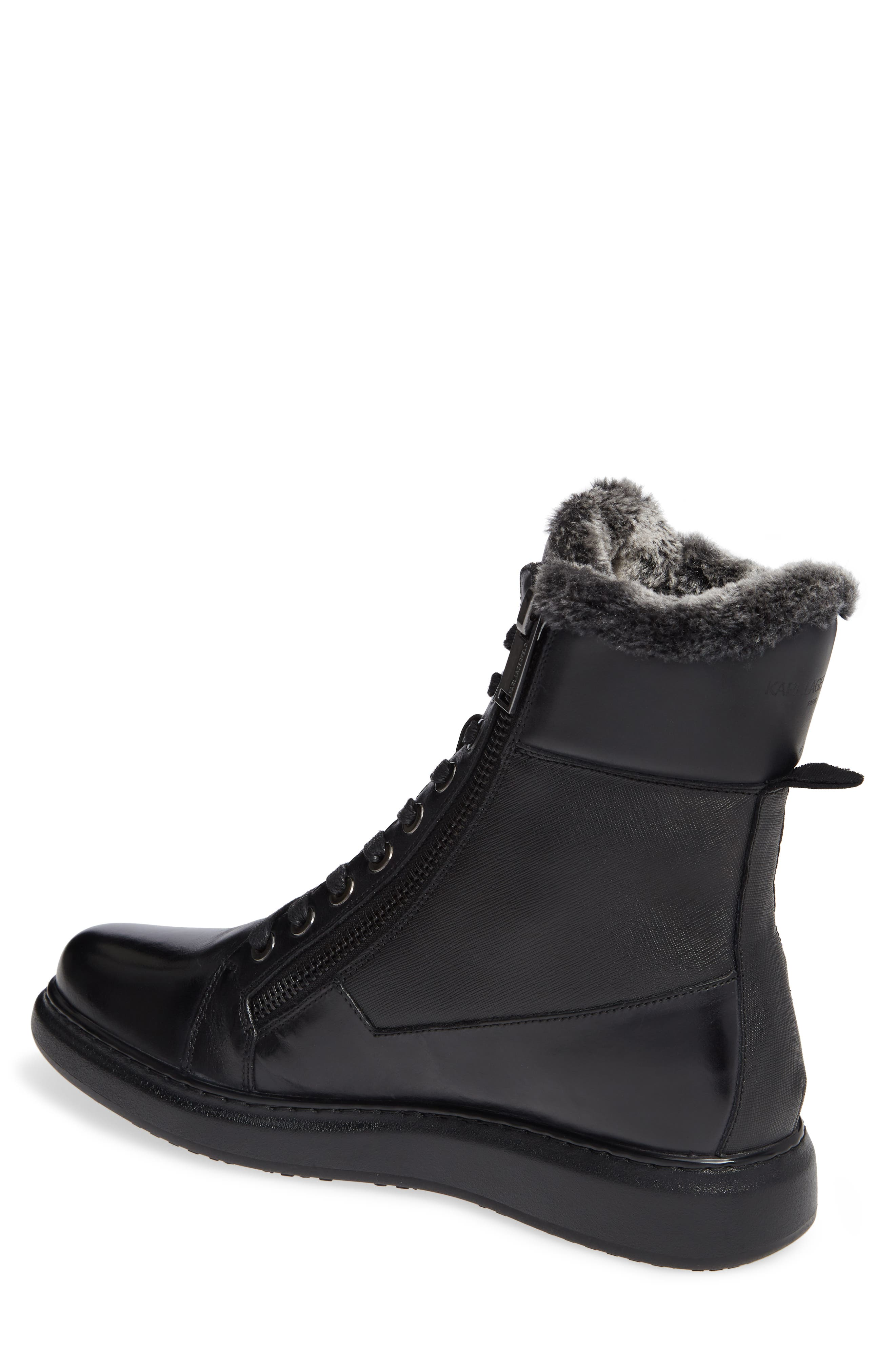 Lace-Up Boot with Faux Fur,                             Alternate thumbnail 2, color,                             001