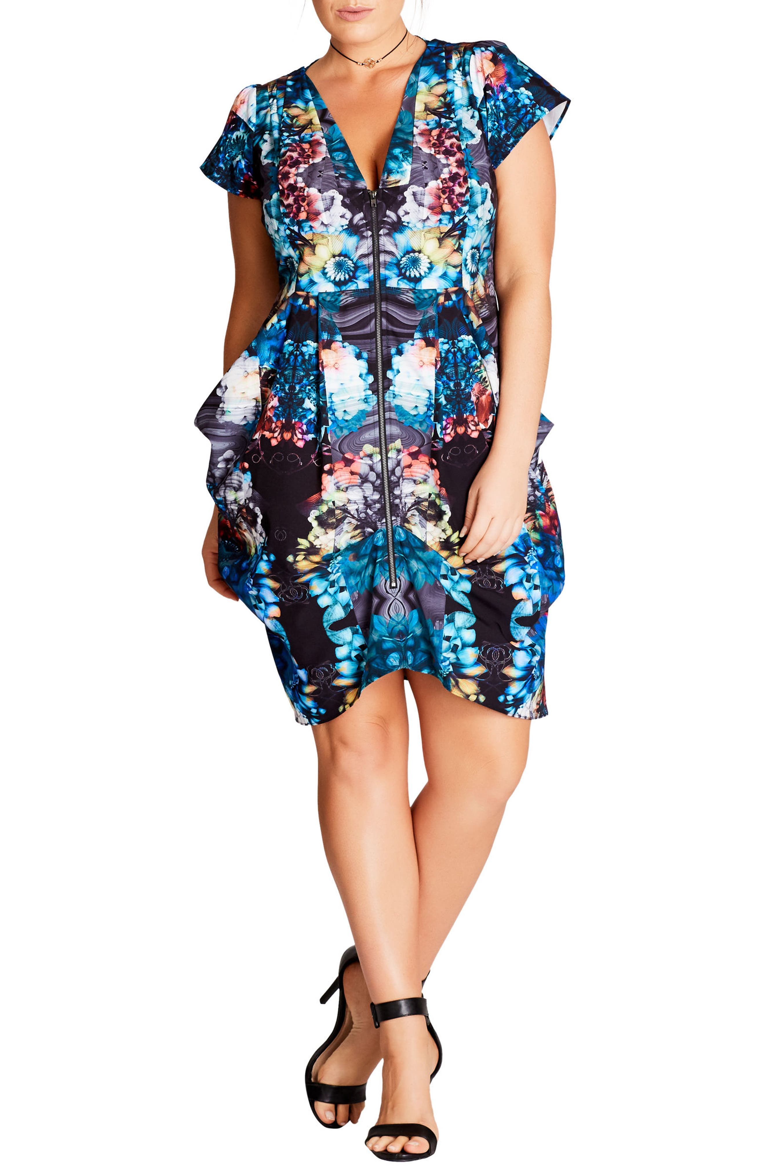 Floral Power Tunic Dress,                             Main thumbnail 1, color,                             001