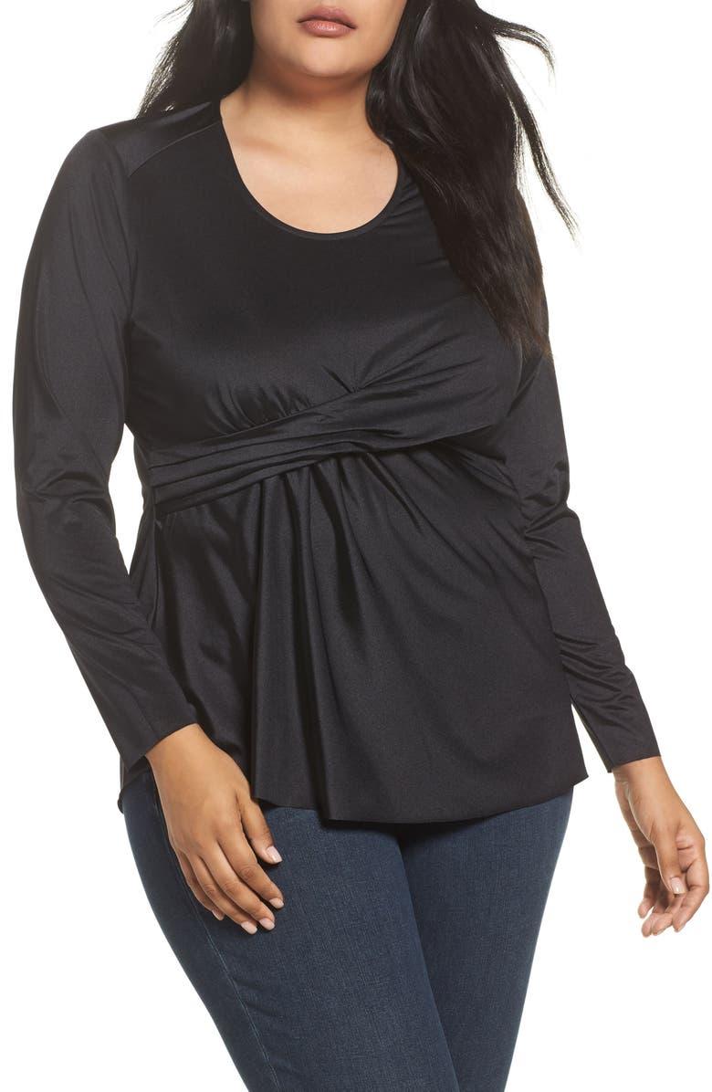 a691289042c Melissa McCarthy Seven7 Drape Front Top (Plus Size)