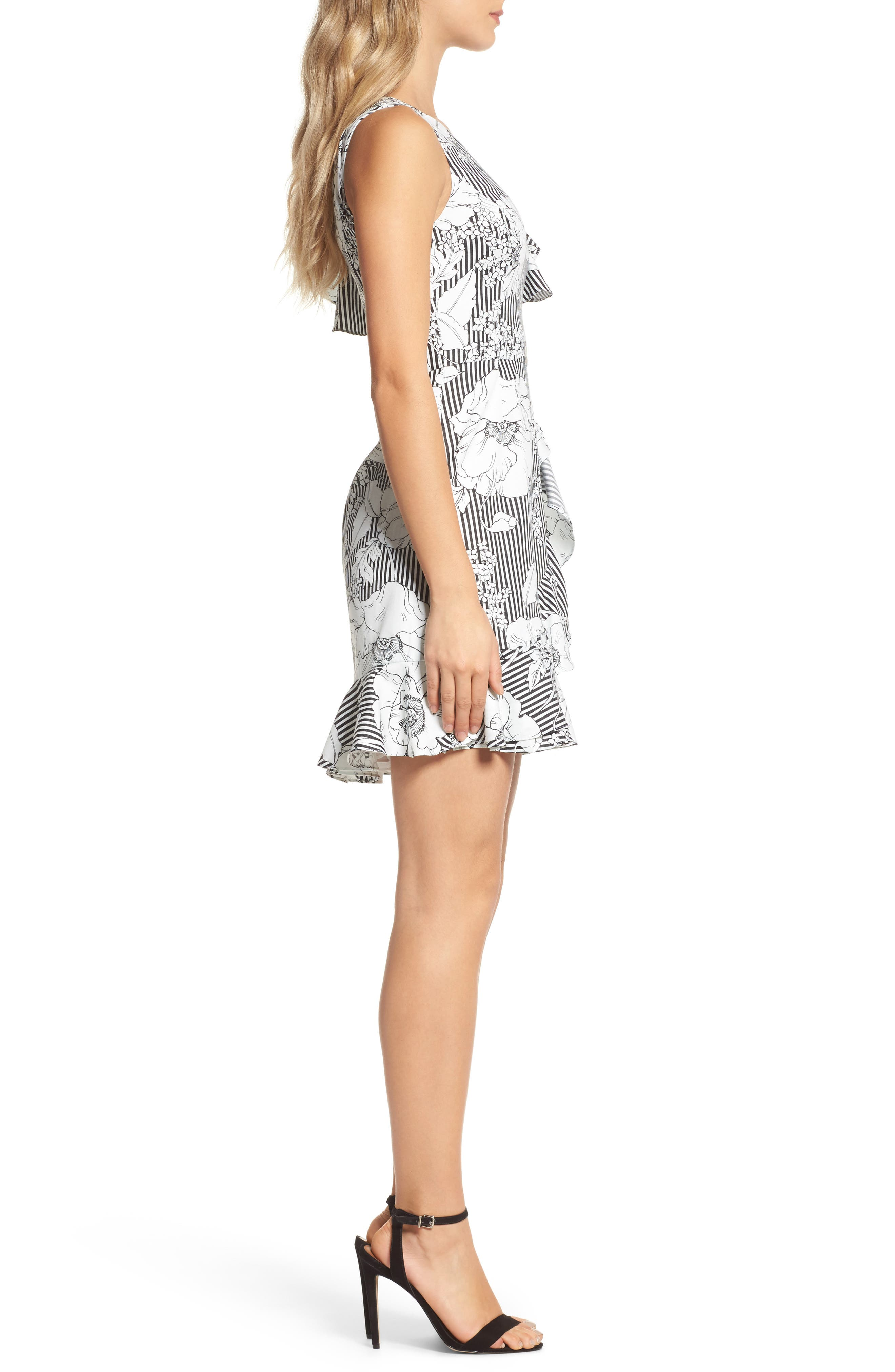 Floral Asymmetrical Ruffle Dress,                             Alternate thumbnail 3, color,                             018