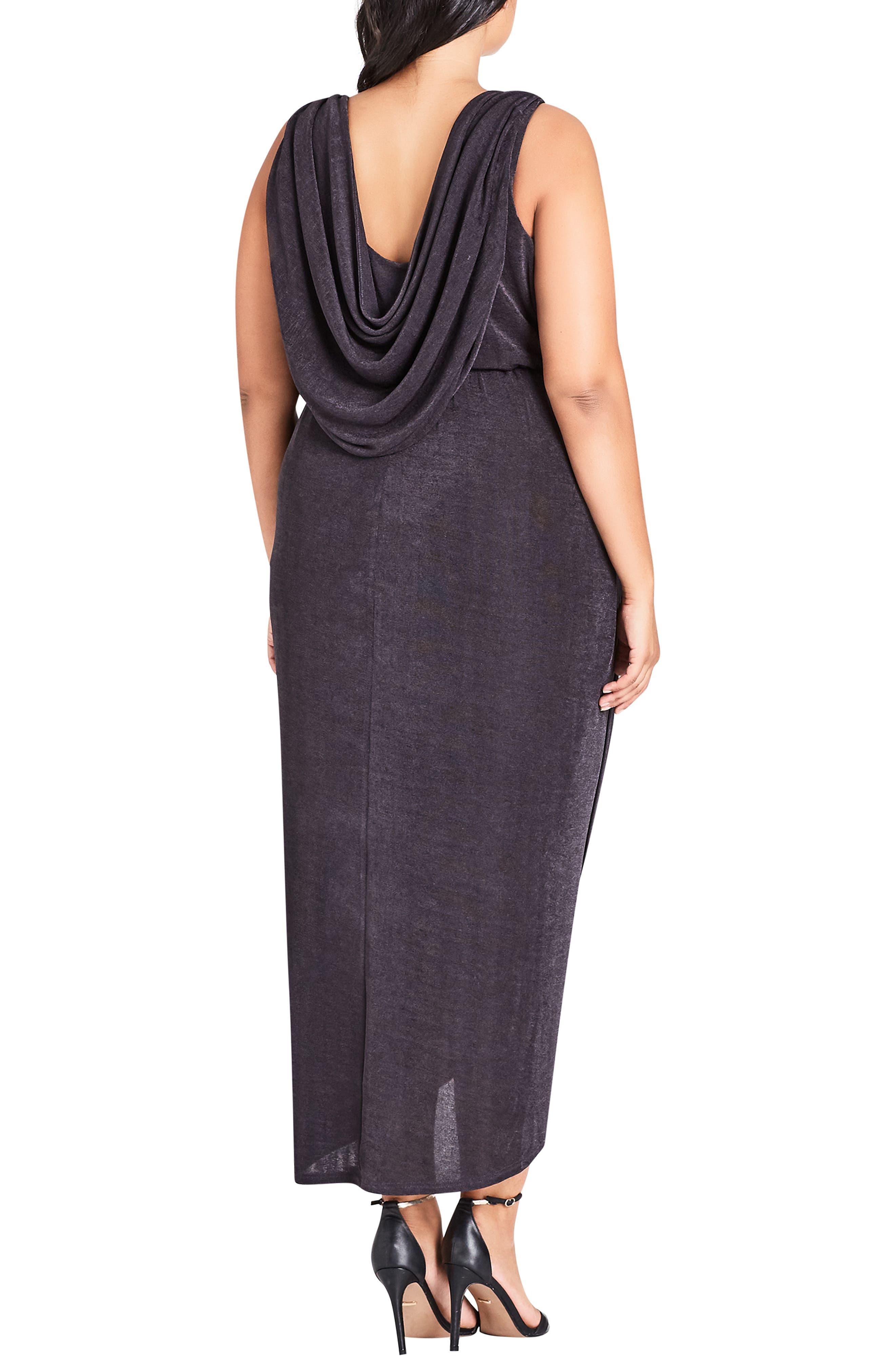 Draped Sleeveless Dress,                             Alternate thumbnail 2, color,                             SMOKE