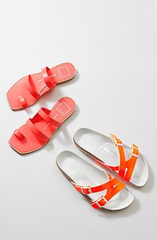 Neon flat sandals.