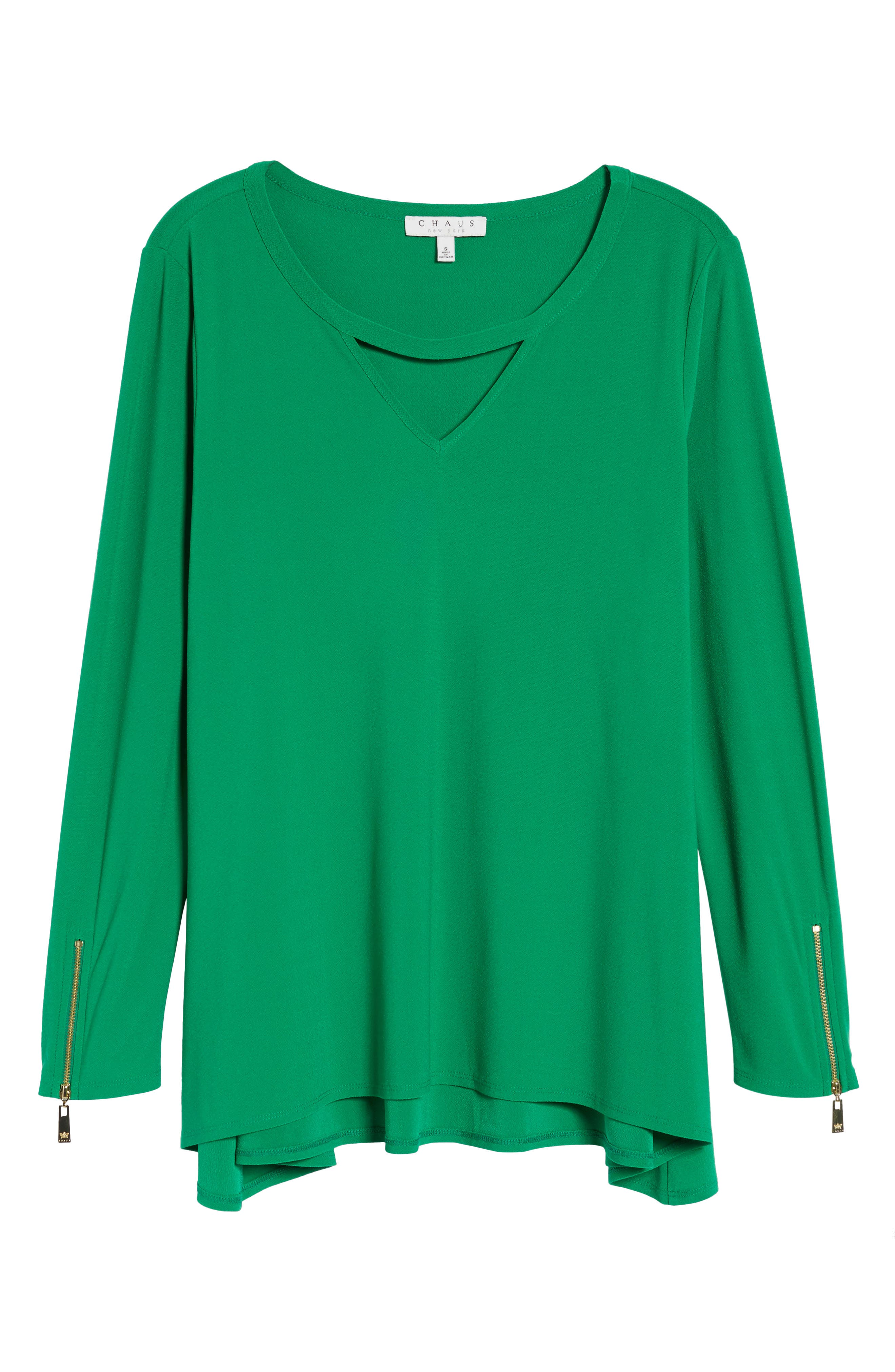 Zip Cuff Crepe Knit Top,                             Alternate thumbnail 6, color,
