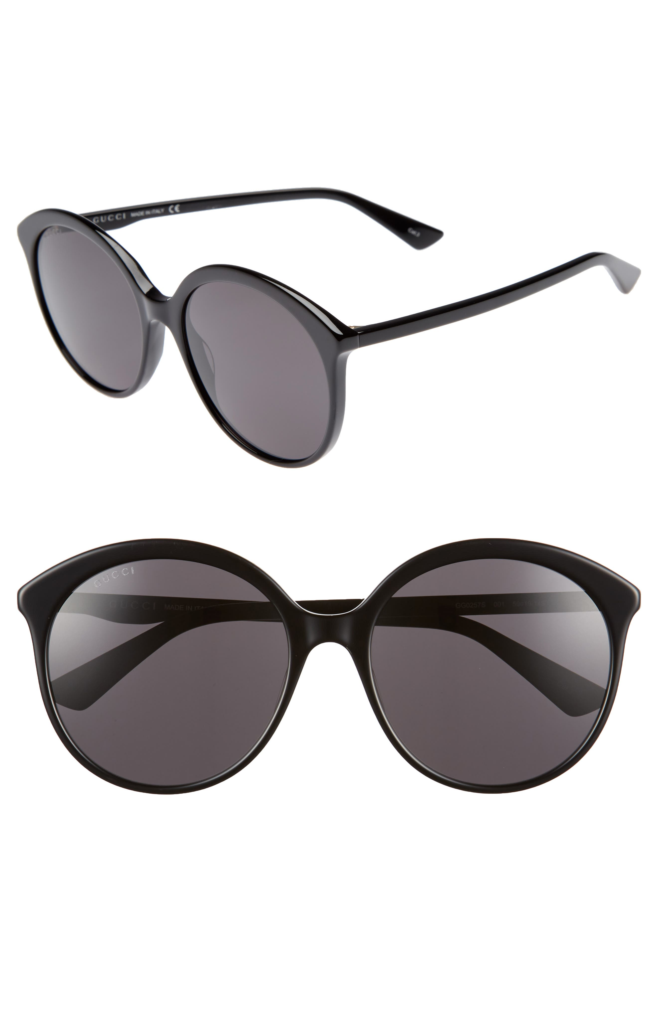 59mm Round Sunglasses,                         Main,                         color, BLACK