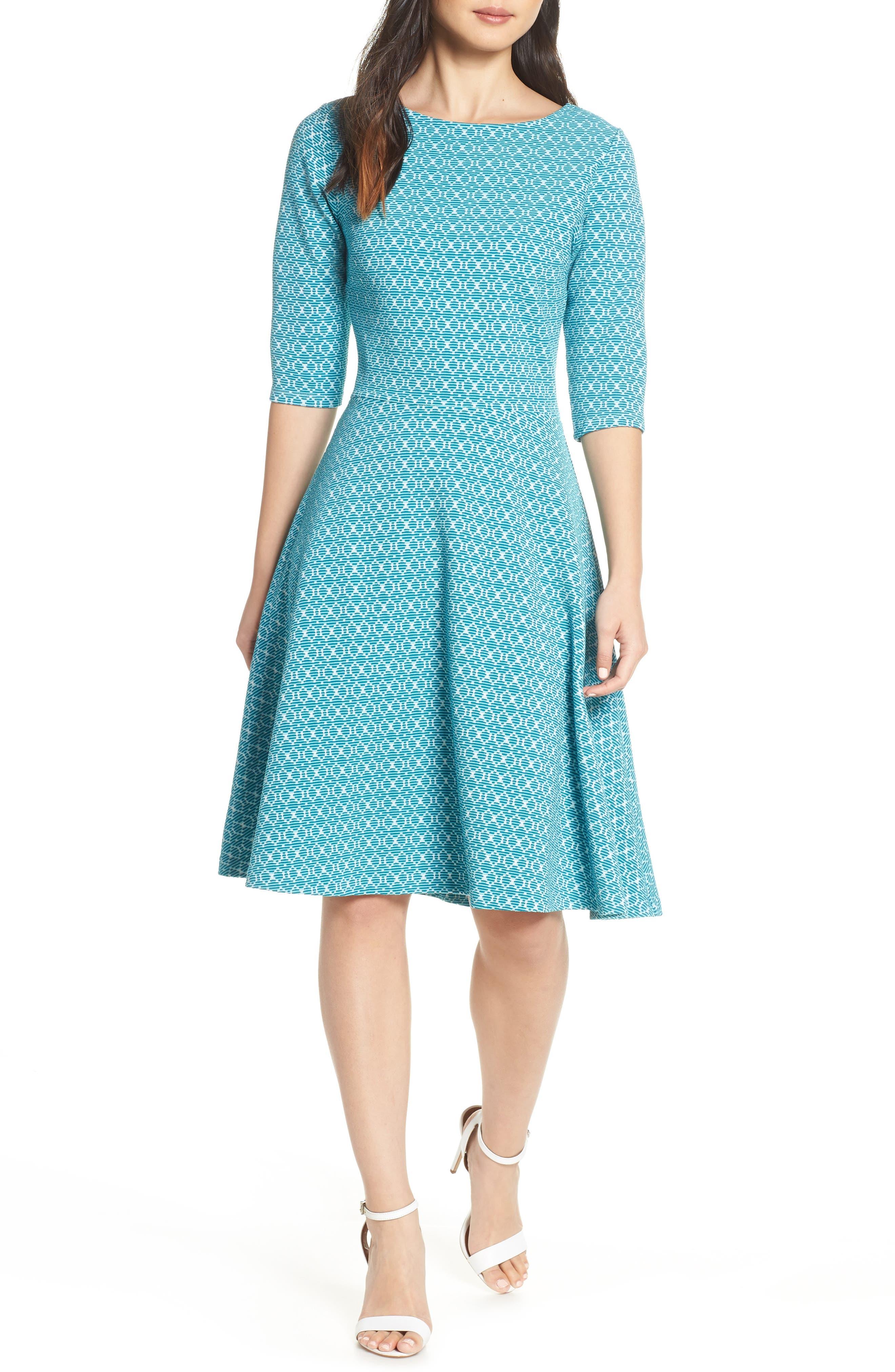 Leota Circle Knit Fit & Flare Dress, Blue
