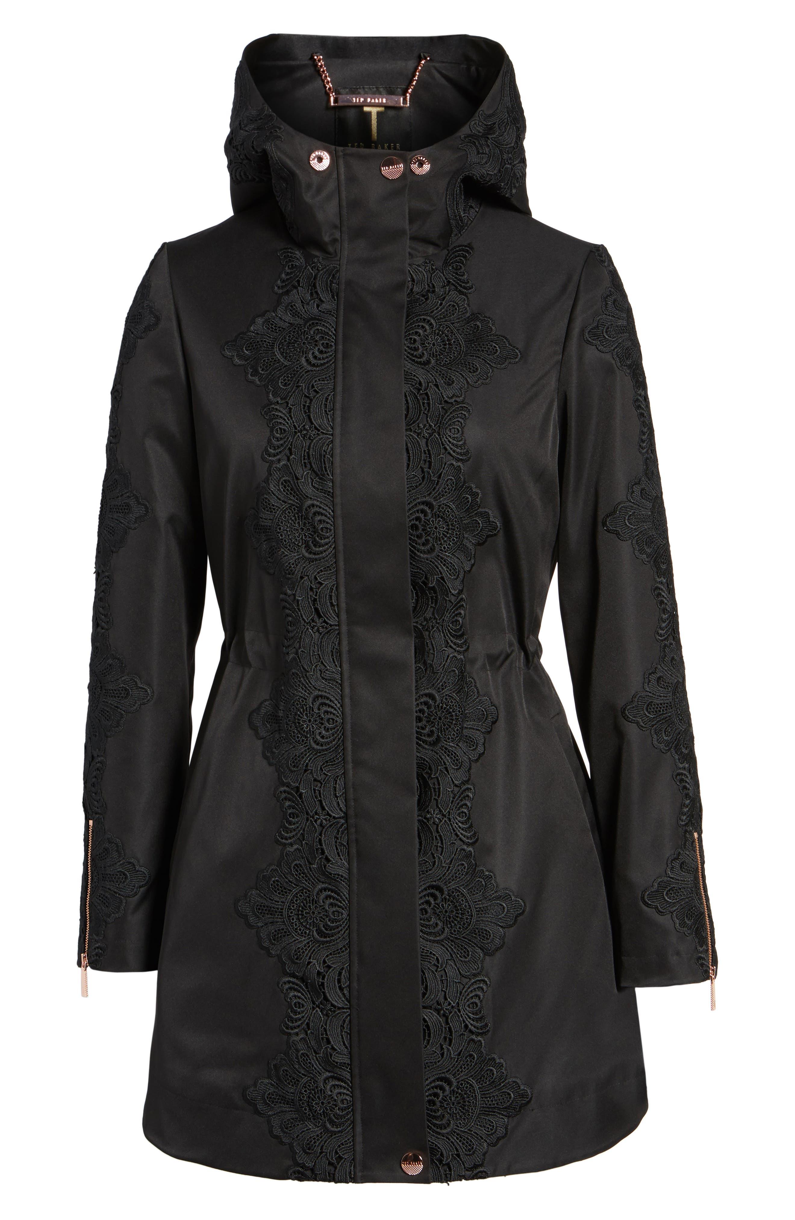 Lace Detail Anorak Jacket,                             Alternate thumbnail 5, color,                             001