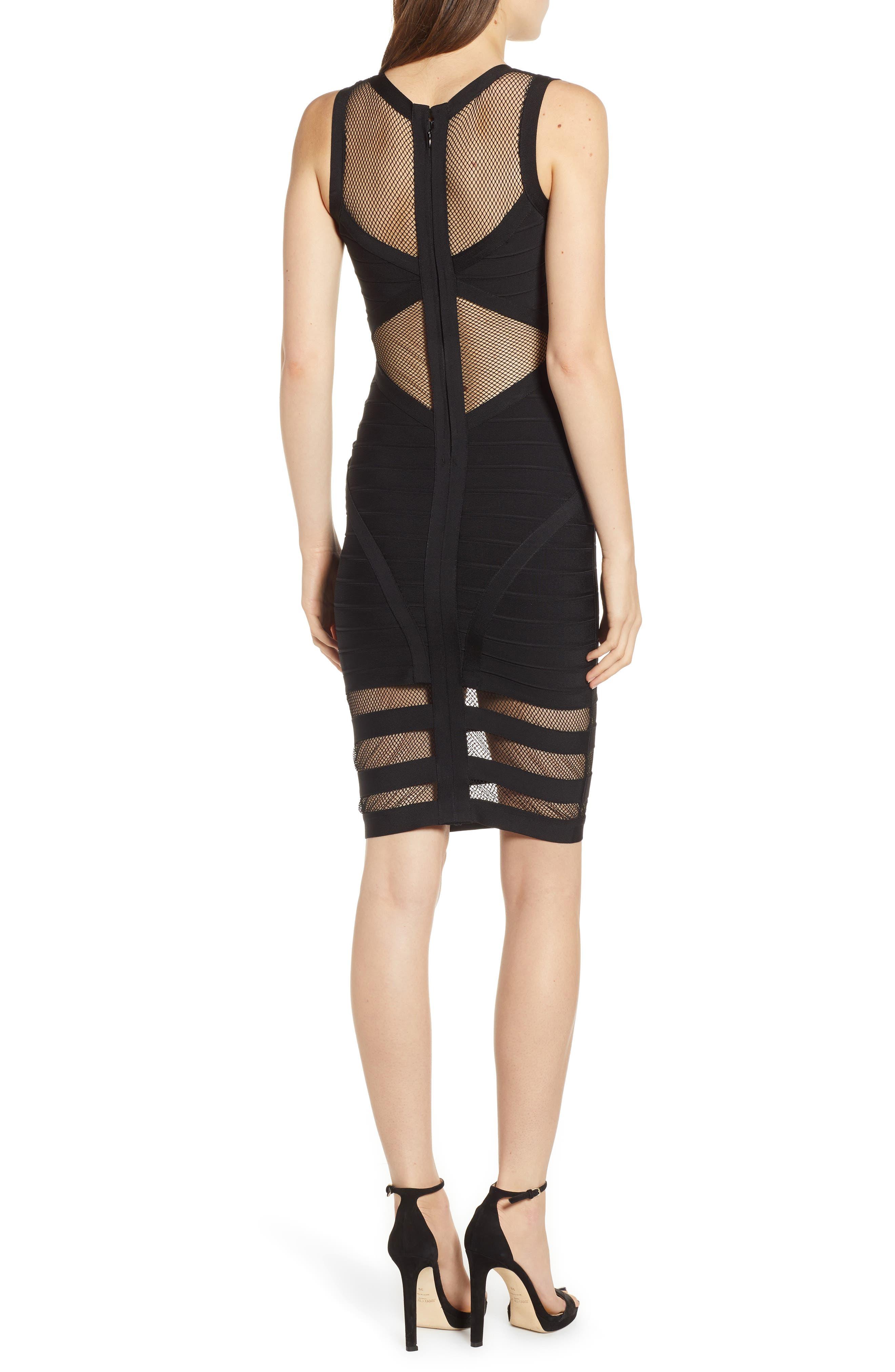 Illusion Mesh Body-Con Dress,                             Alternate thumbnail 2, color,                             BLACK