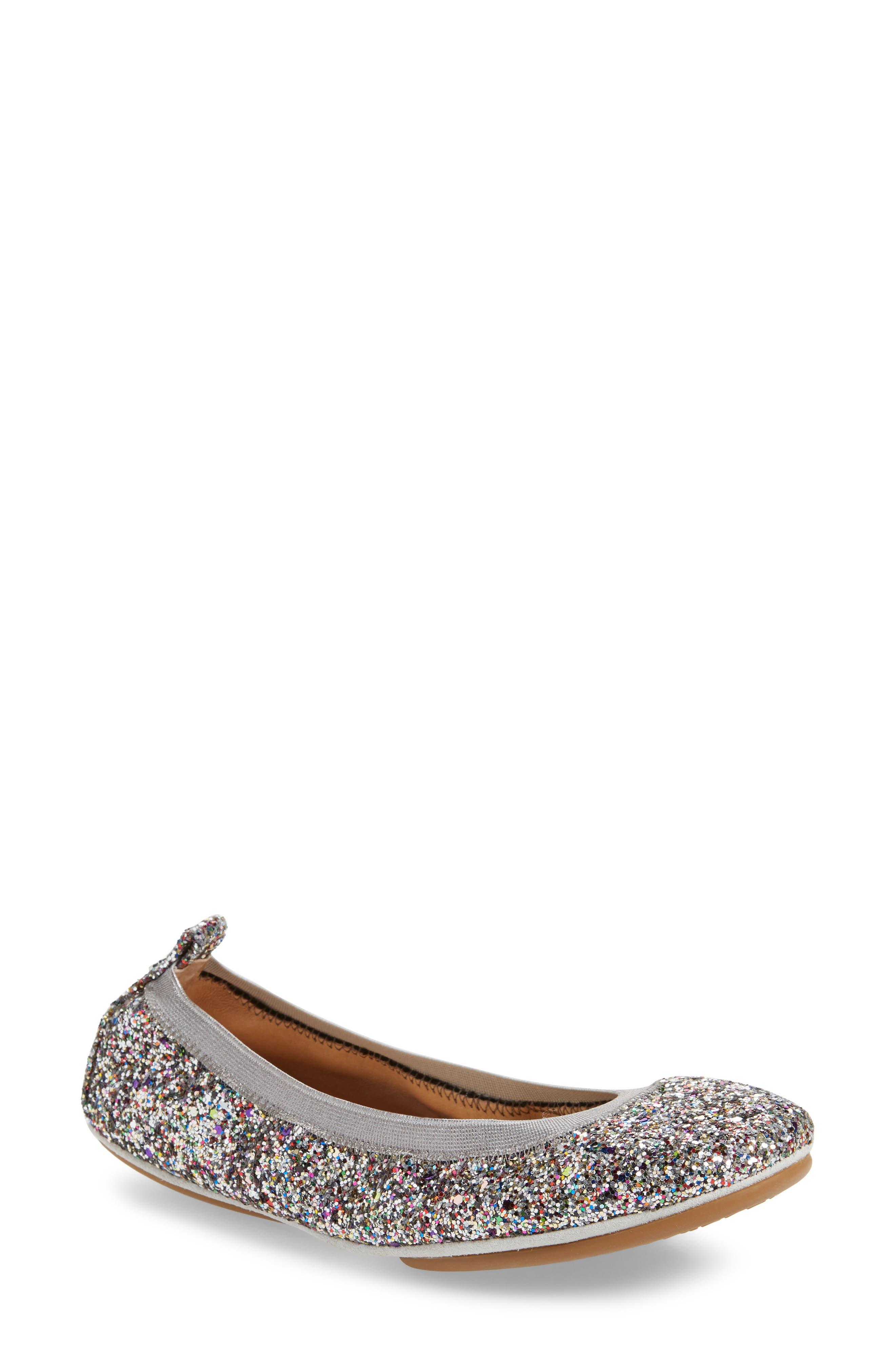 YOSI SAMRA Samara Foldable Ballet Flat in Silver Rainbow Glitter
