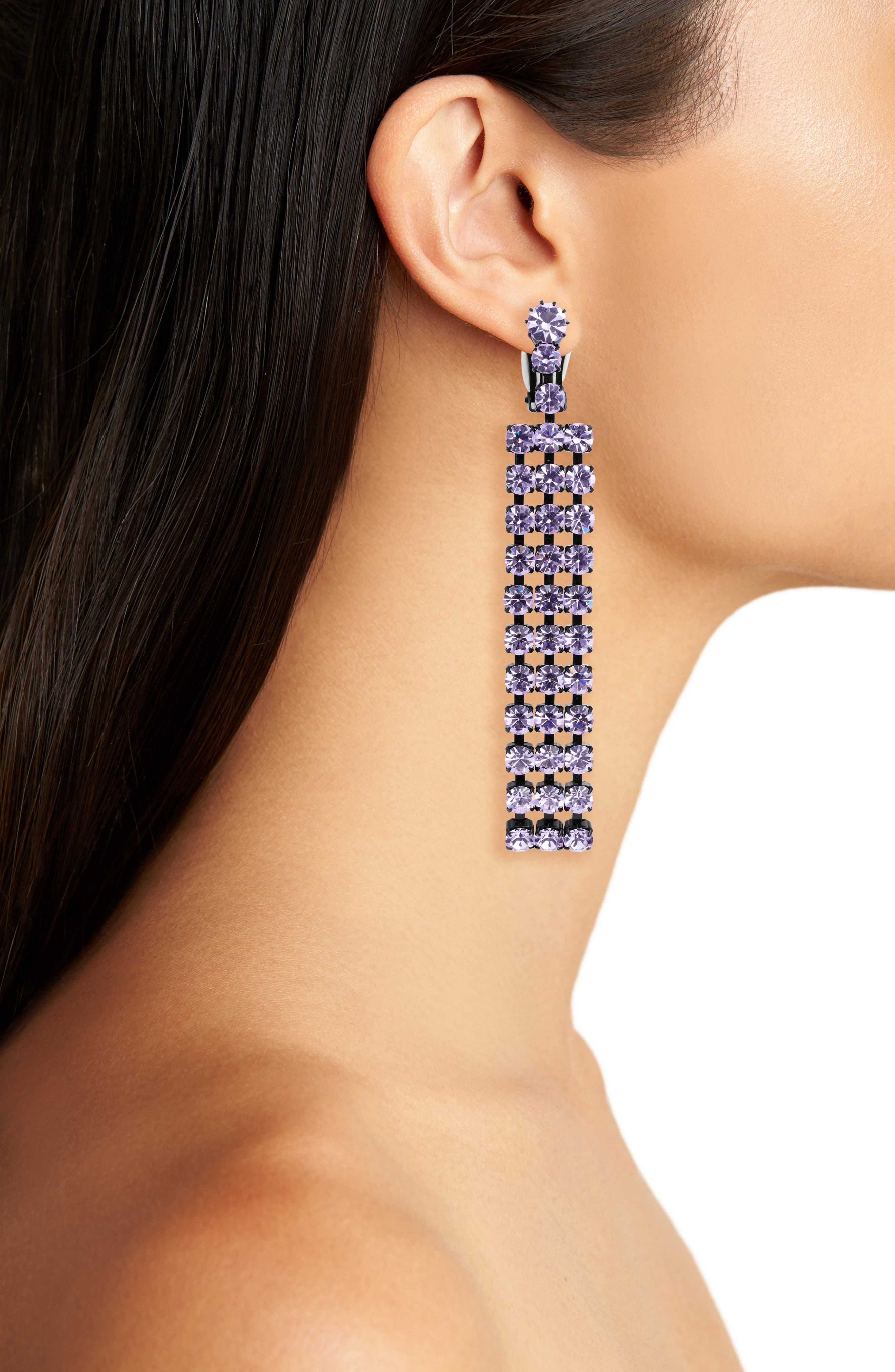 Cindy Crystal Earrings,                             Alternate thumbnail 2, color,                             VIOLET