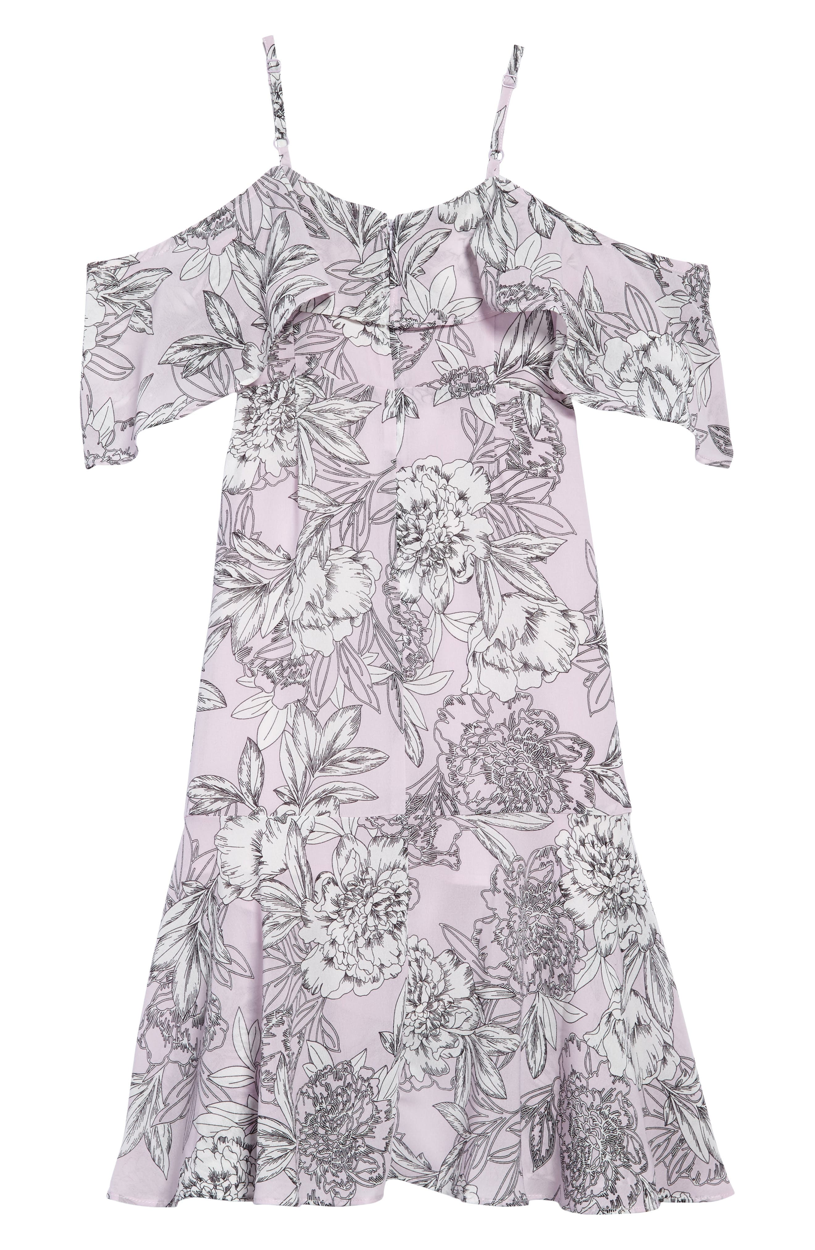 Frankie Ruffle Cold Shoulder Dress,                             Alternate thumbnail 2, color,                             028
