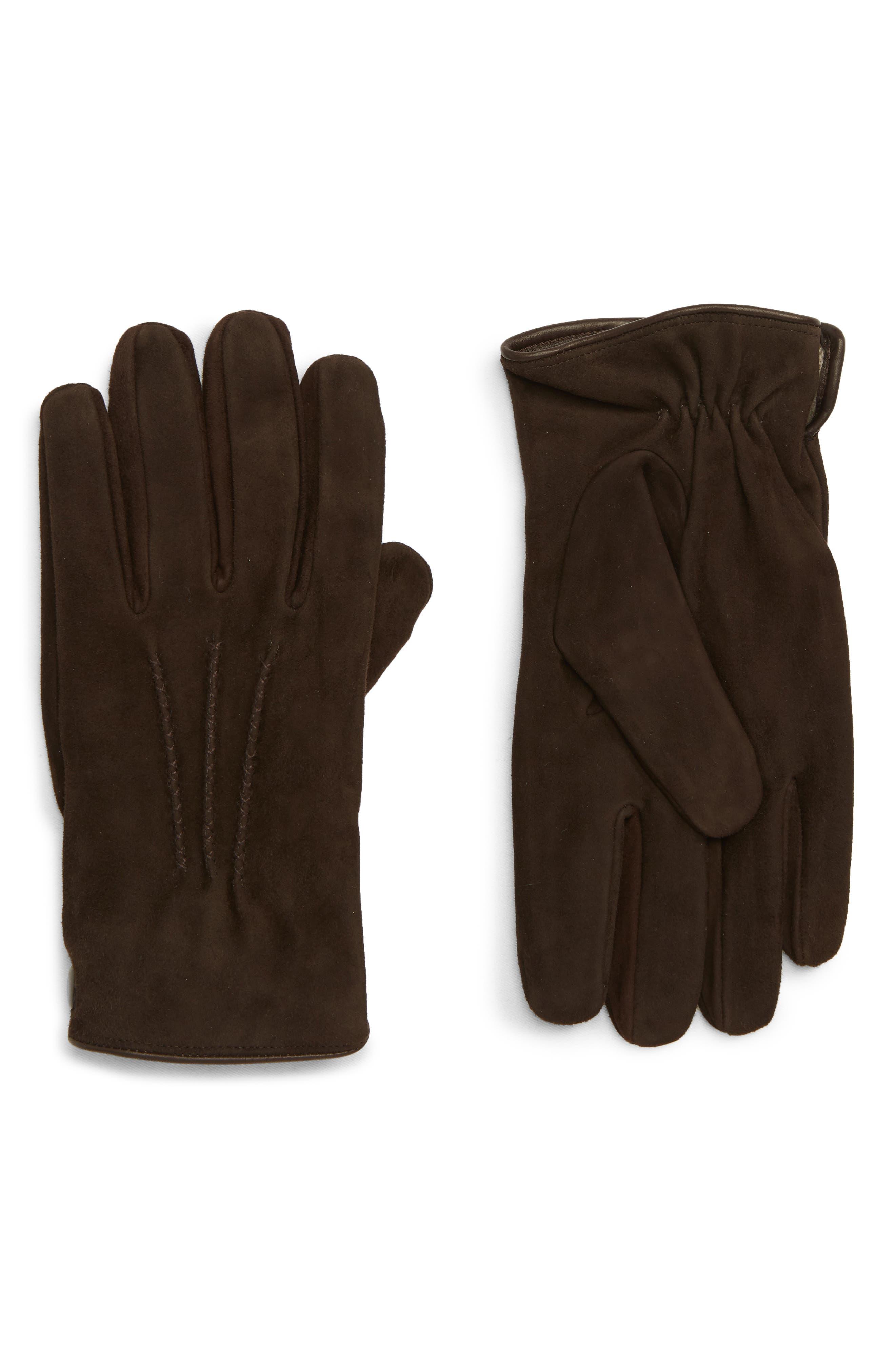 Suede Gloves,                         Main,                         color, BROWN