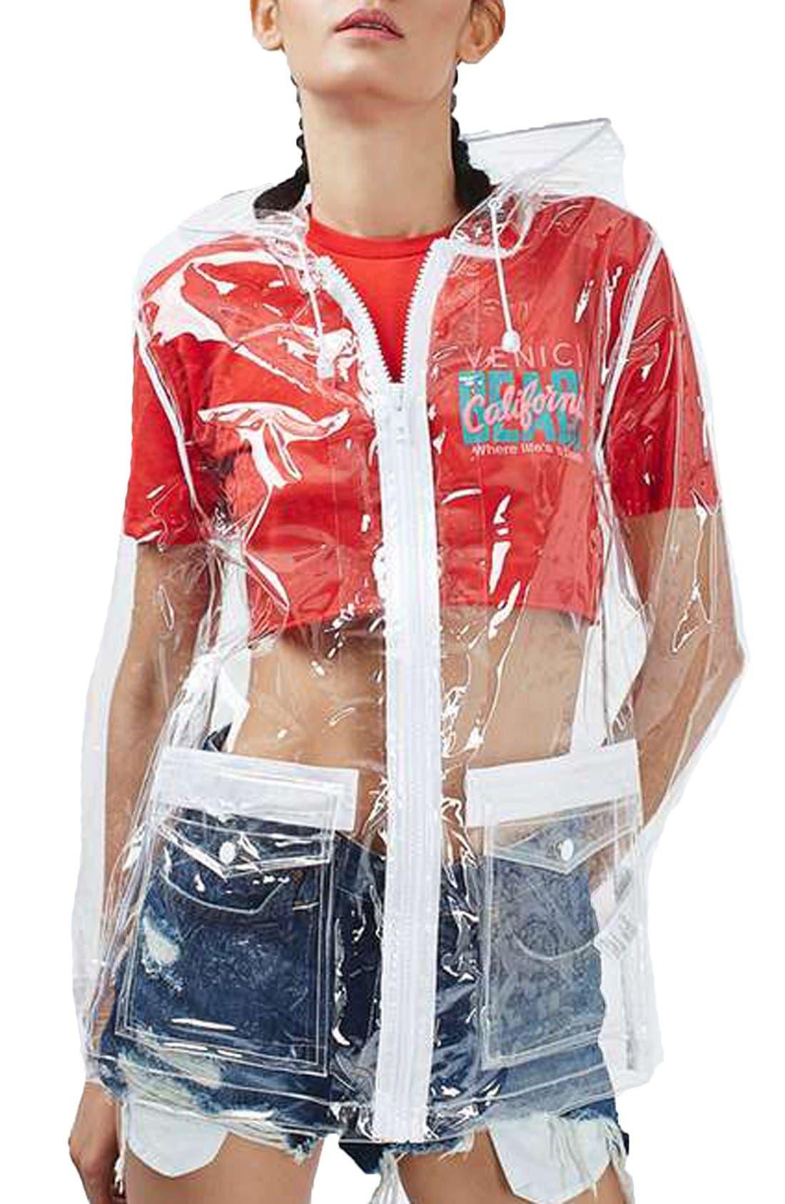 Clear Plastic Rain Jacket,                             Main thumbnail 1, color,                             000