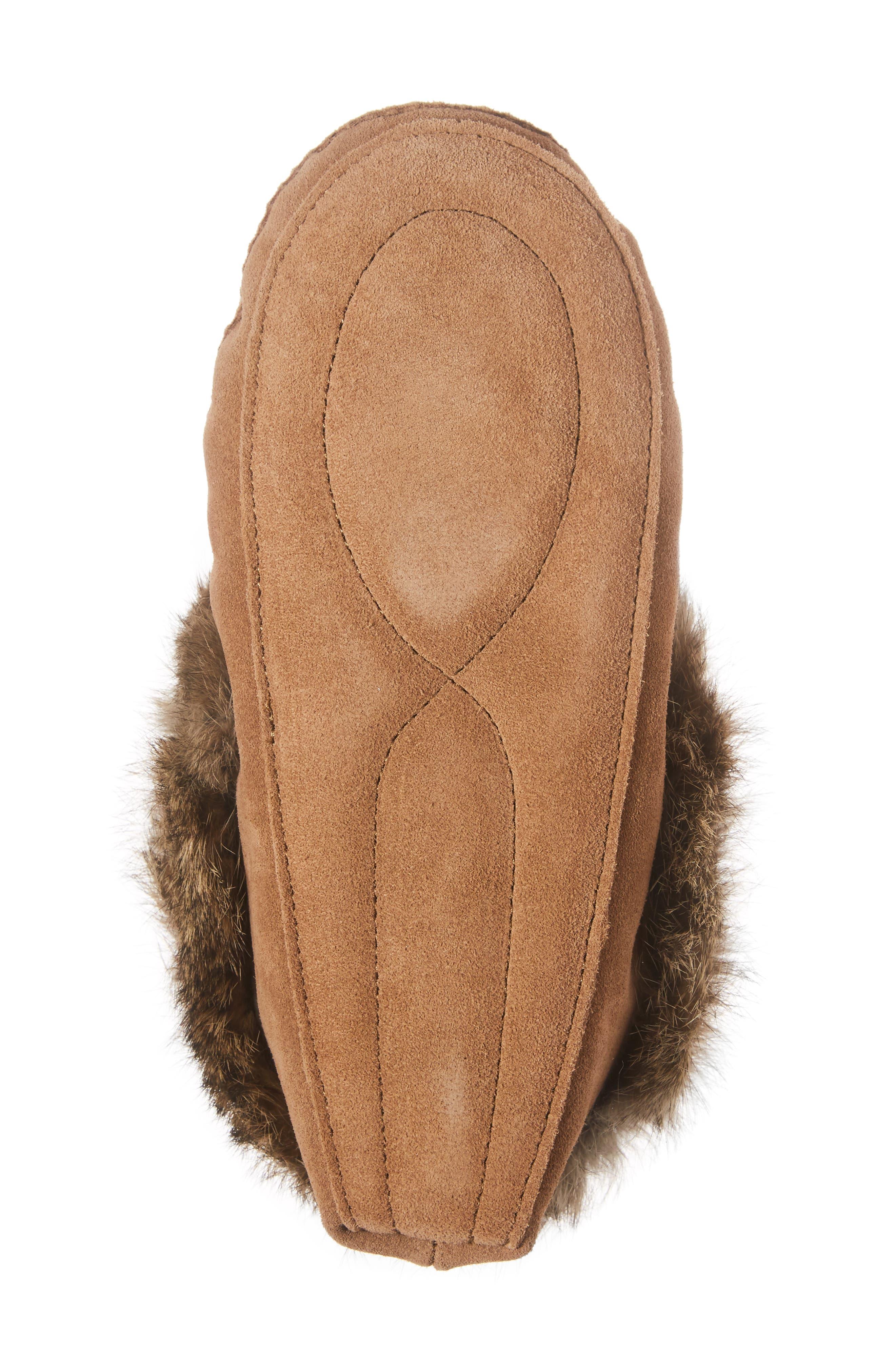 'Kanada' Genuine Rabbit Fur & Suede Moccasin Slipper,                             Alternate thumbnail 6, color,                             OAK FUR