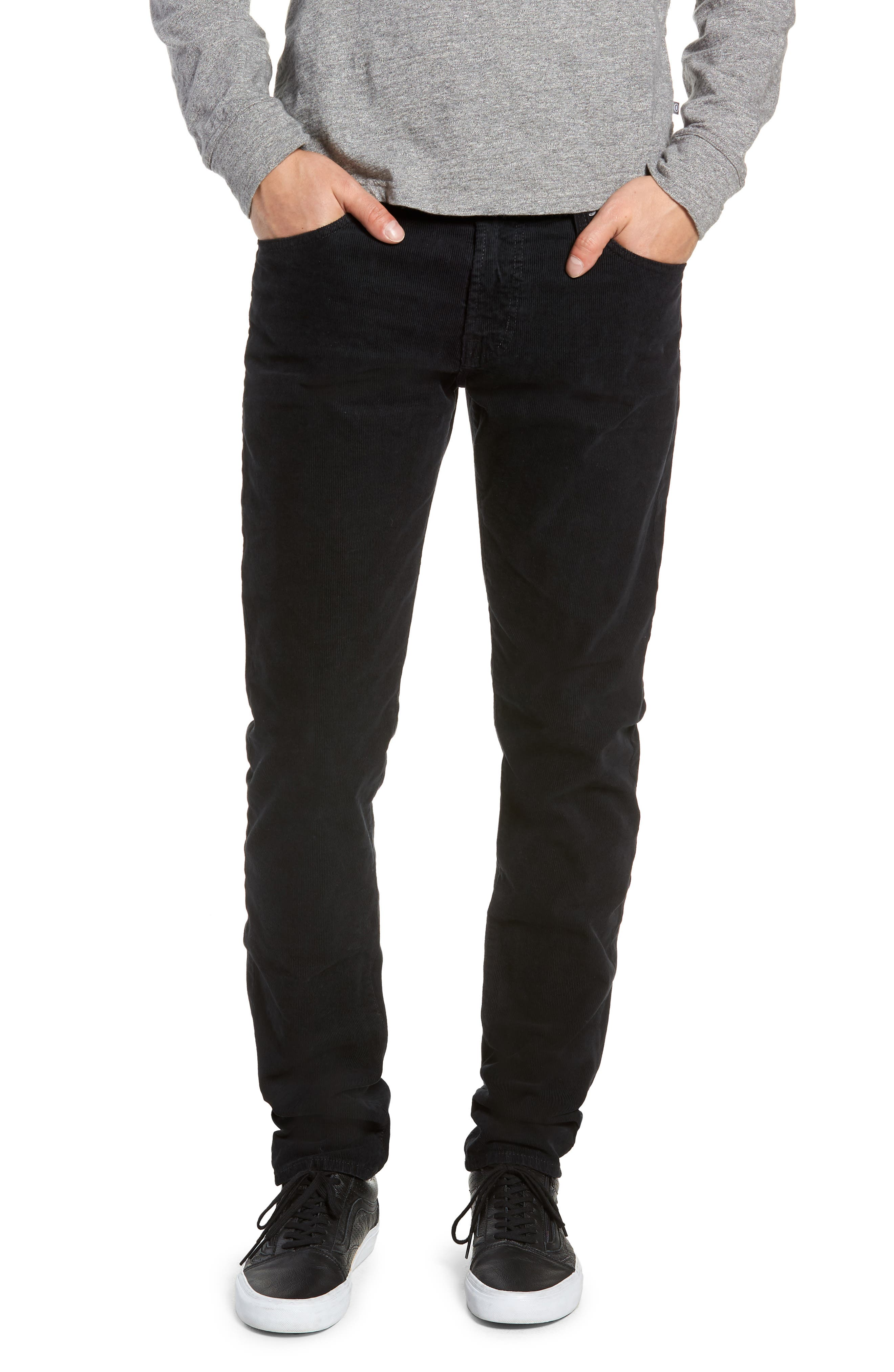 Dylan Skinny Fit Corduroy Pants,                             Main thumbnail 1, color,                             SULFUR ASH BLACK