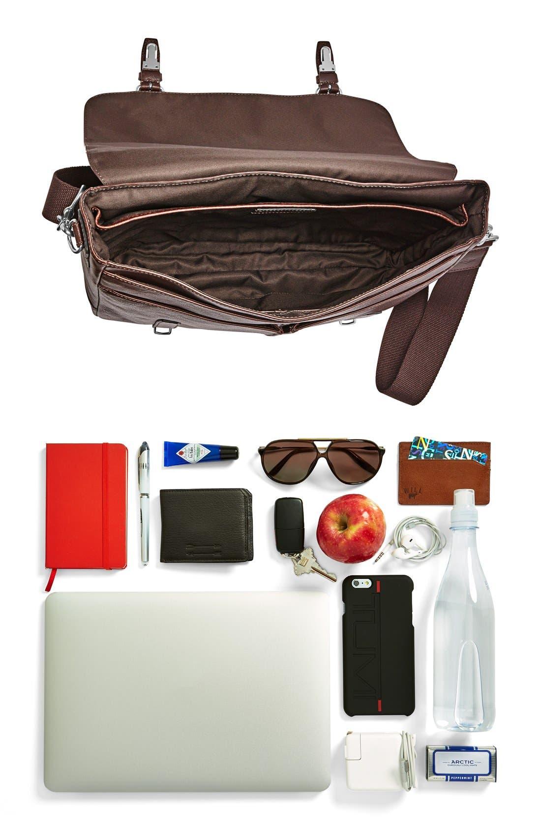 'Graham' Leather Messenger Bag,                             Alternate thumbnail 4, color,                             201