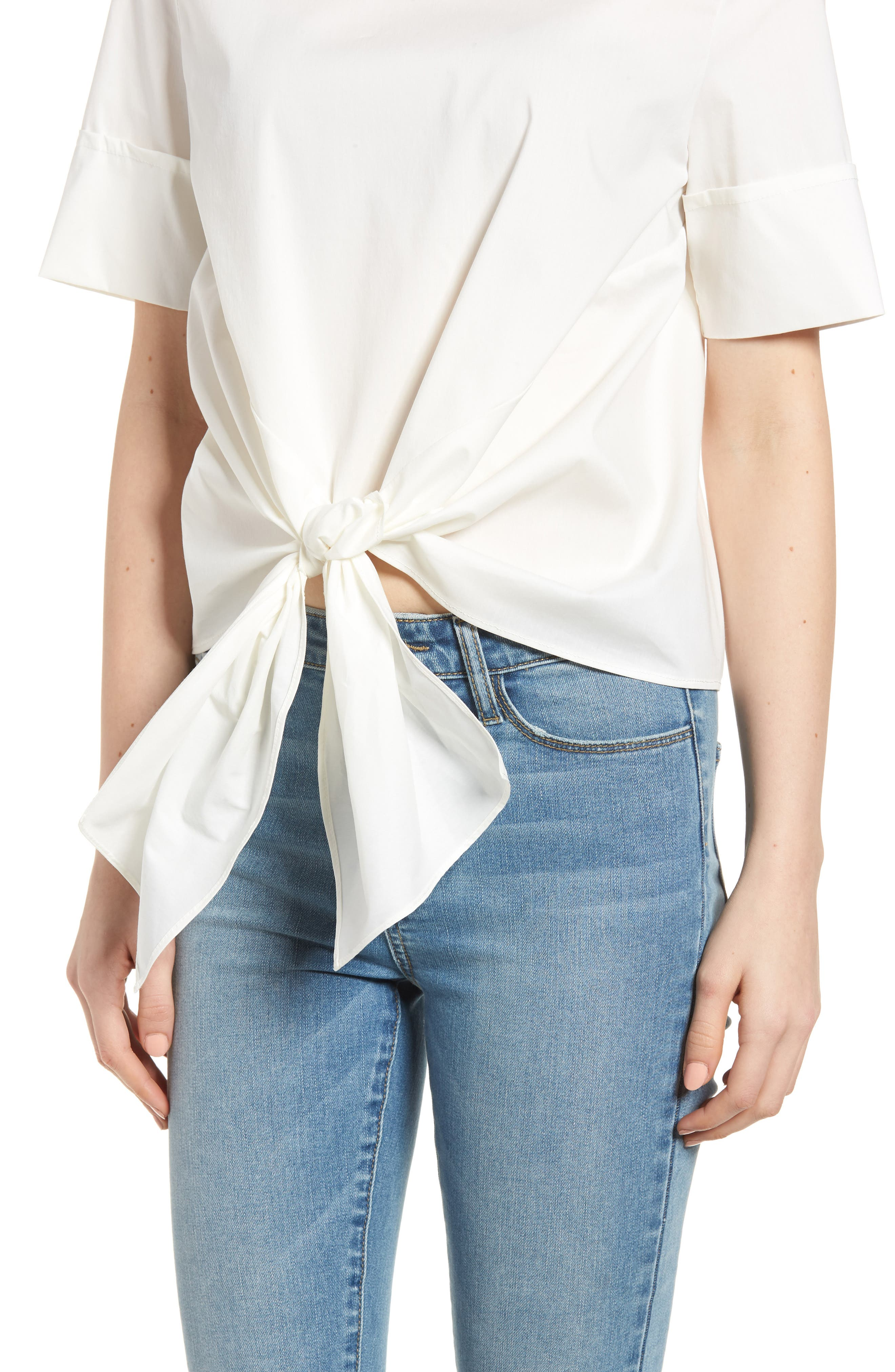 Bishop + Young Front Tie Blouse,                             Alternate thumbnail 4, color,                             WHITE