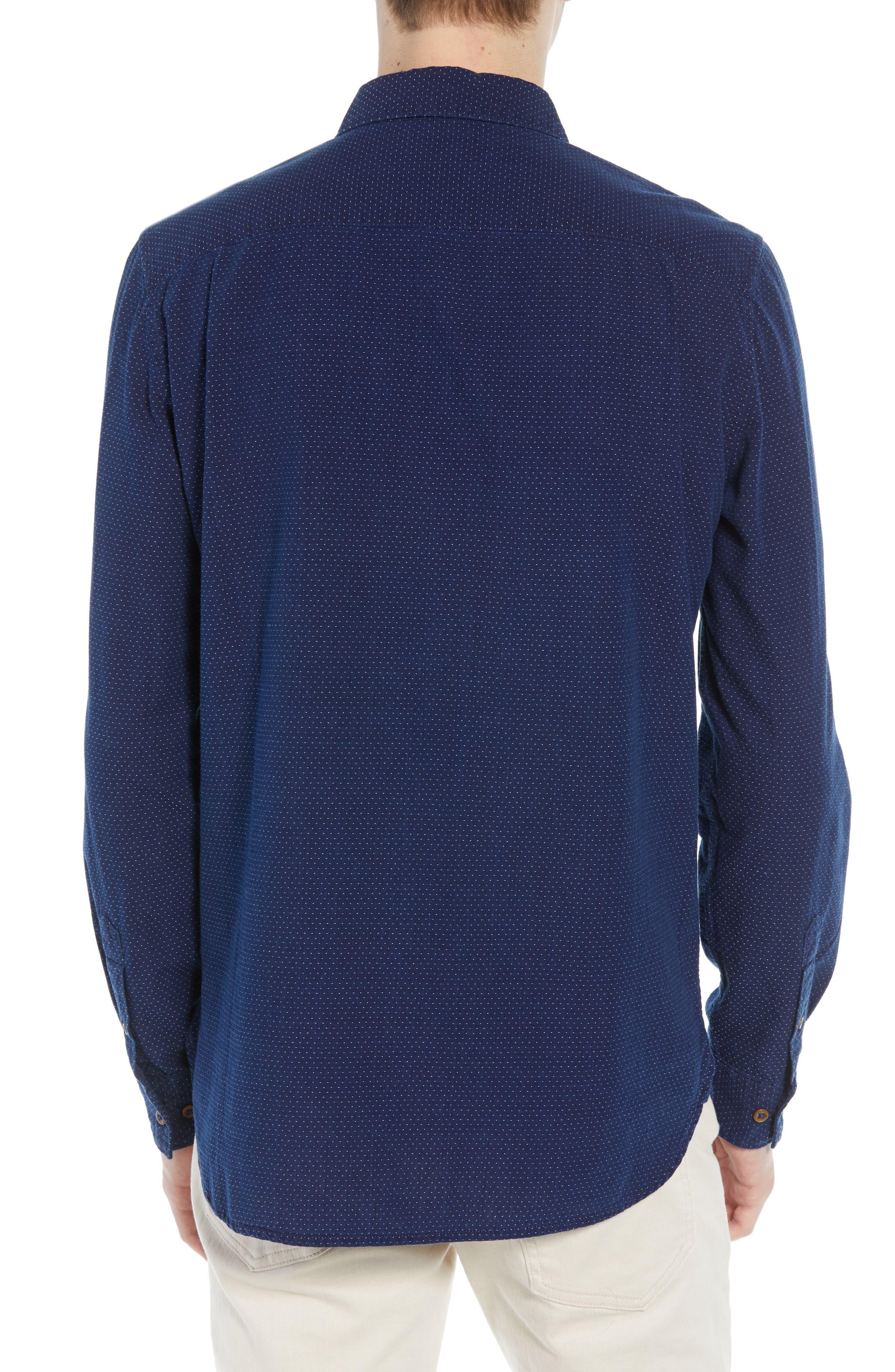 Indigo Dot Regular Fit Sport Shirt,                             Alternate thumbnail 3, color,                             VINTAGE