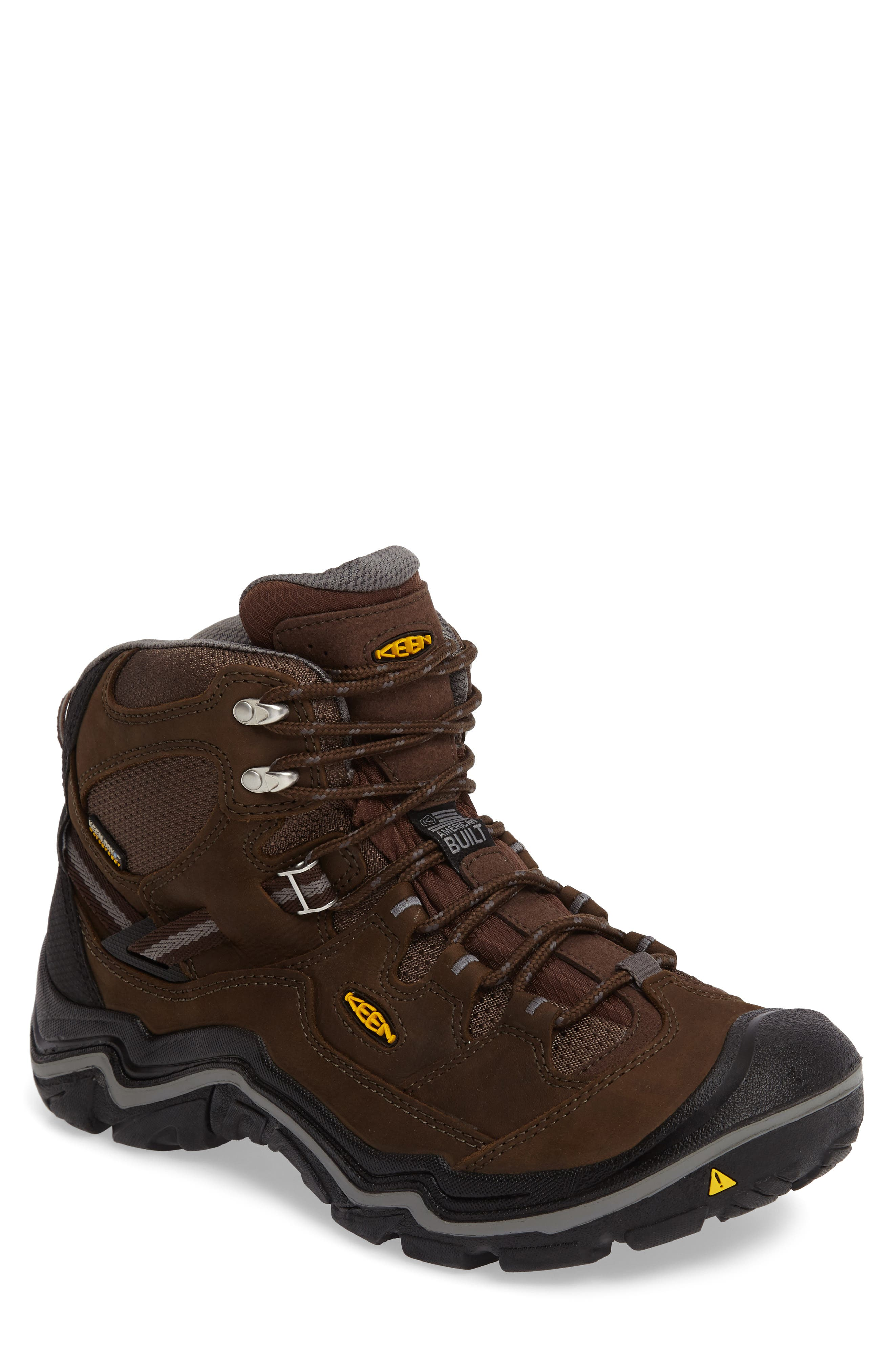 Durand Mid Waterproof Hiking Boot,                             Main thumbnail 1, color,                             BROWN LEATHER