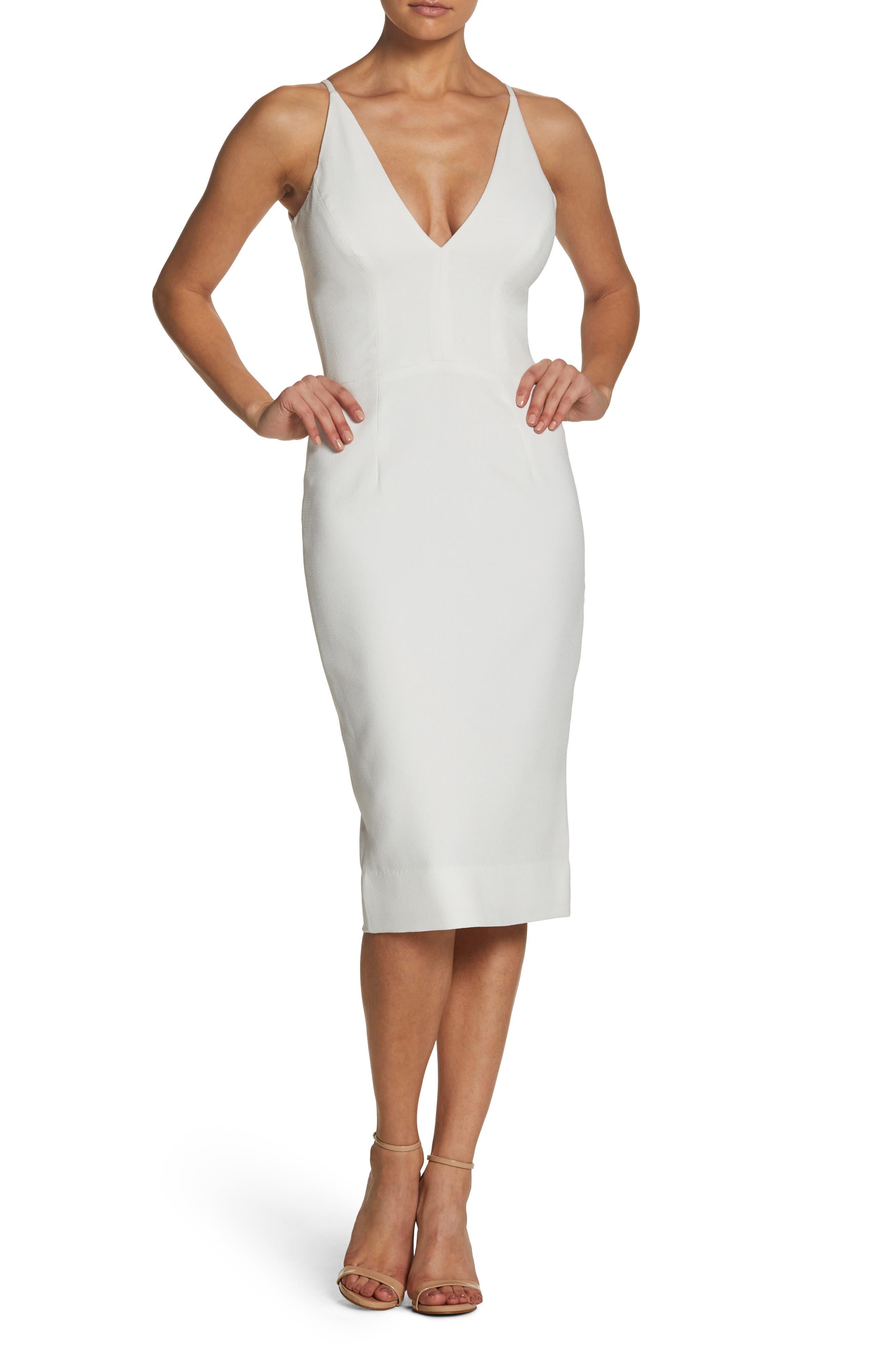 Dress The Population Lyla Crepe Sheath Dress, White