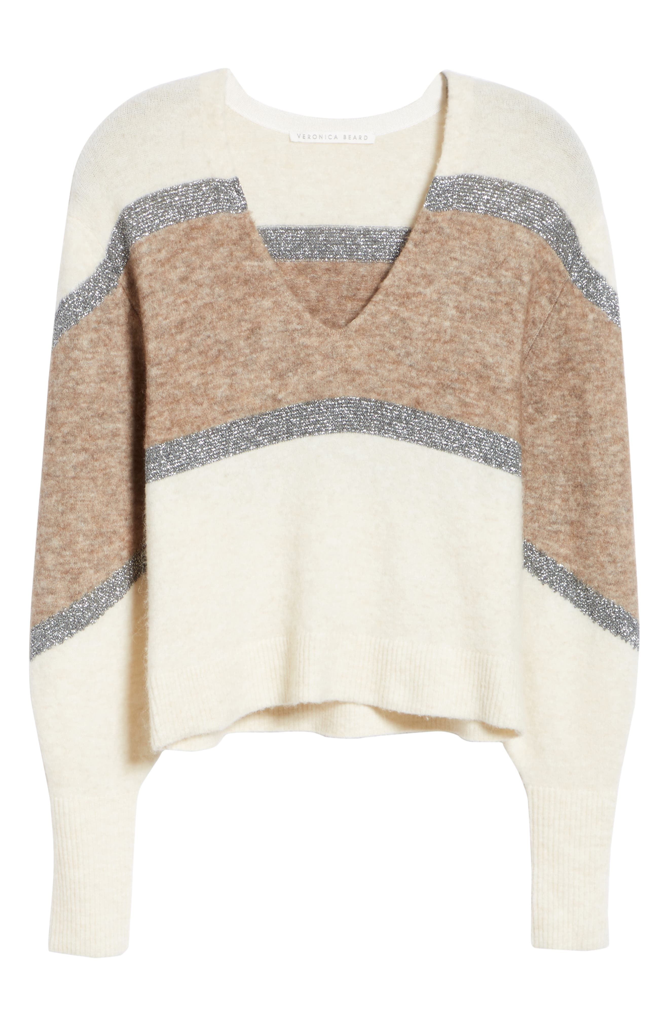 Miley Stripe Sweater,                             Alternate thumbnail 6, color,                             IVORY MULTI
