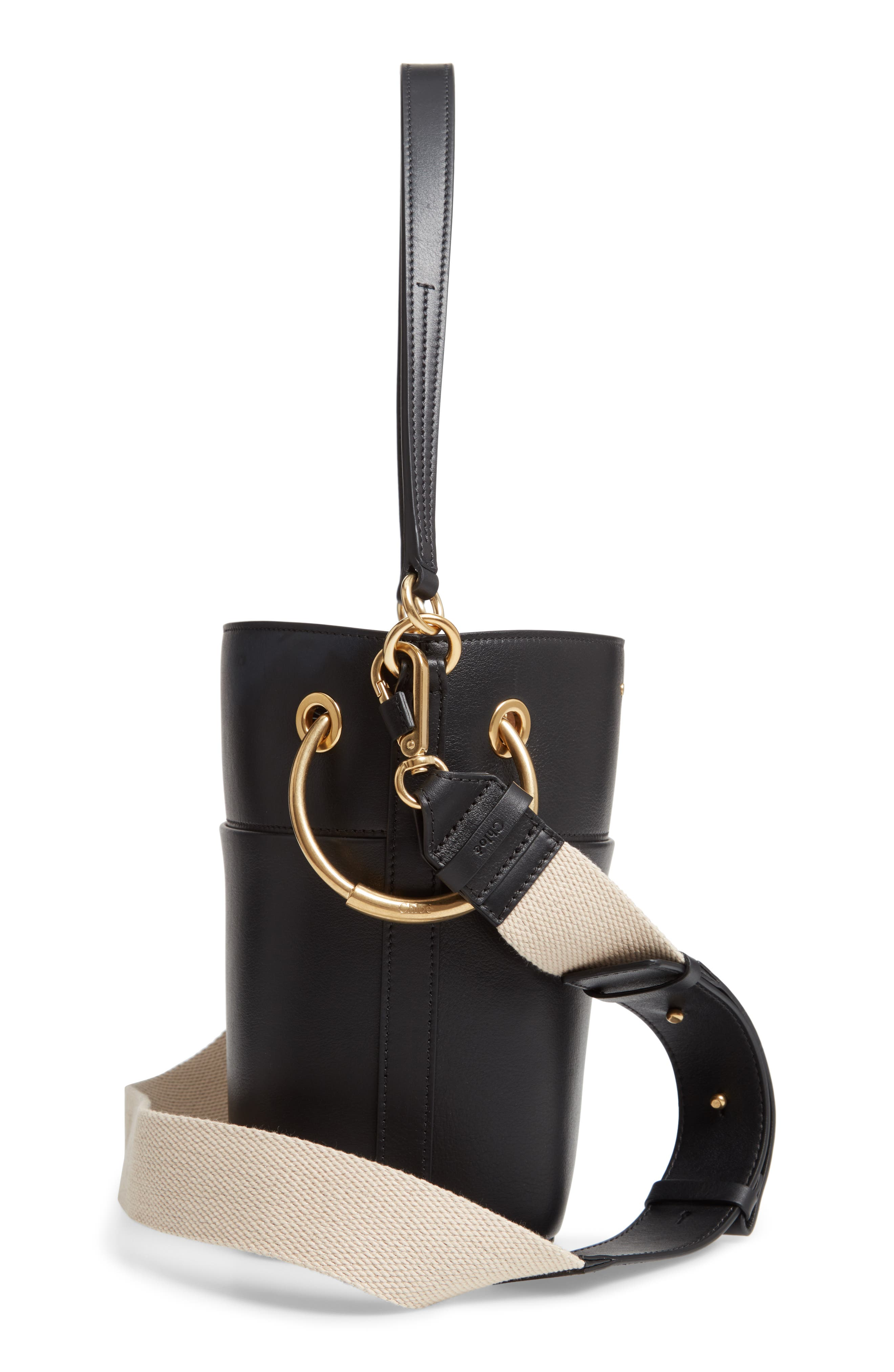 Roy Small Leather Bucket Bag,                             Alternate thumbnail 7, color,                             BLACK