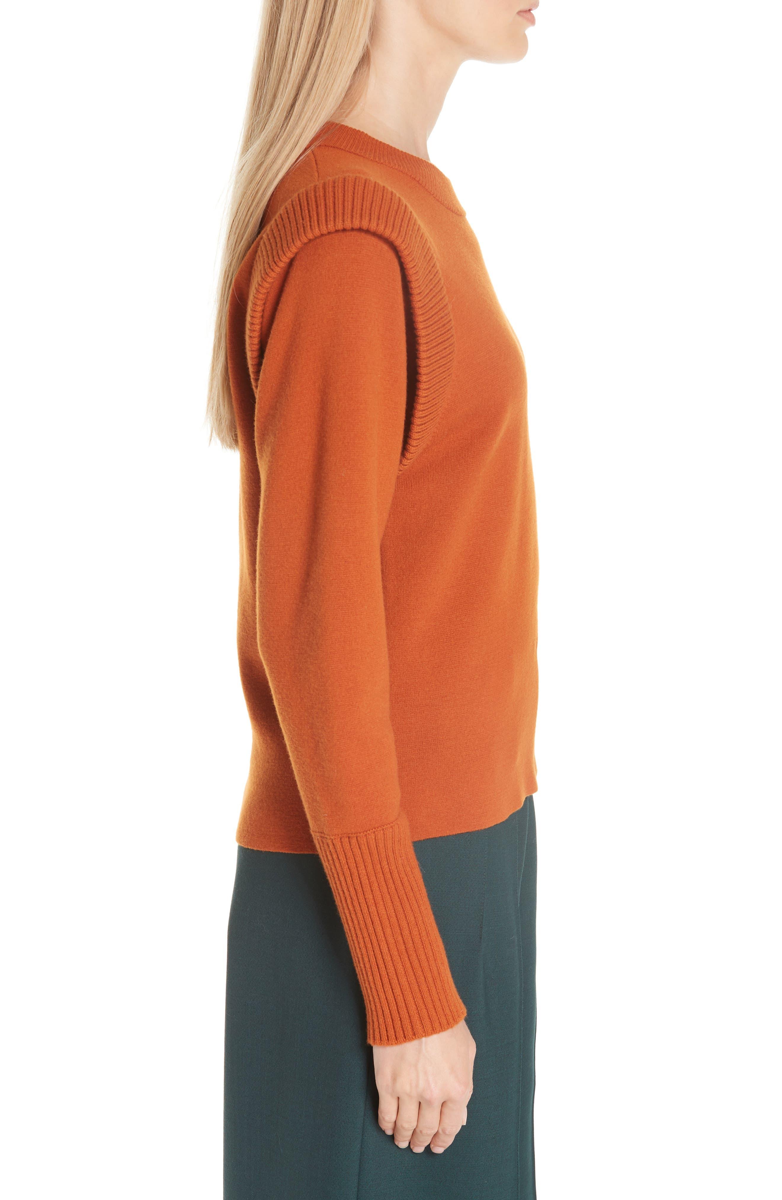 SEA,                             Rib Trim Milano Knit Sweater,                             Alternate thumbnail 3, color,                             800