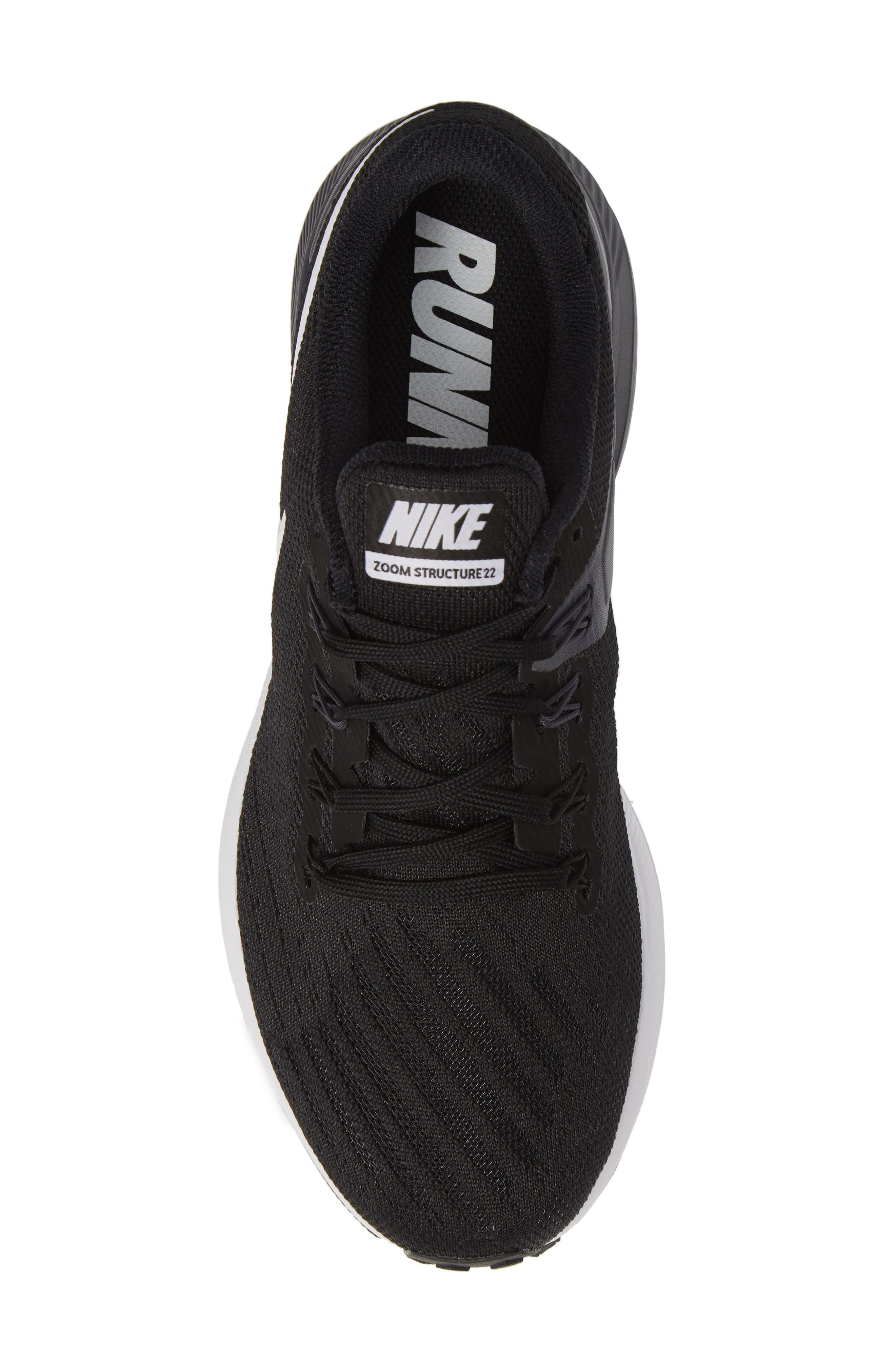 Air Zoom Structure 22 Running Shoe,                             Alternate thumbnail 5, color,                             BLACK/ WHITE/ GRIDIRON