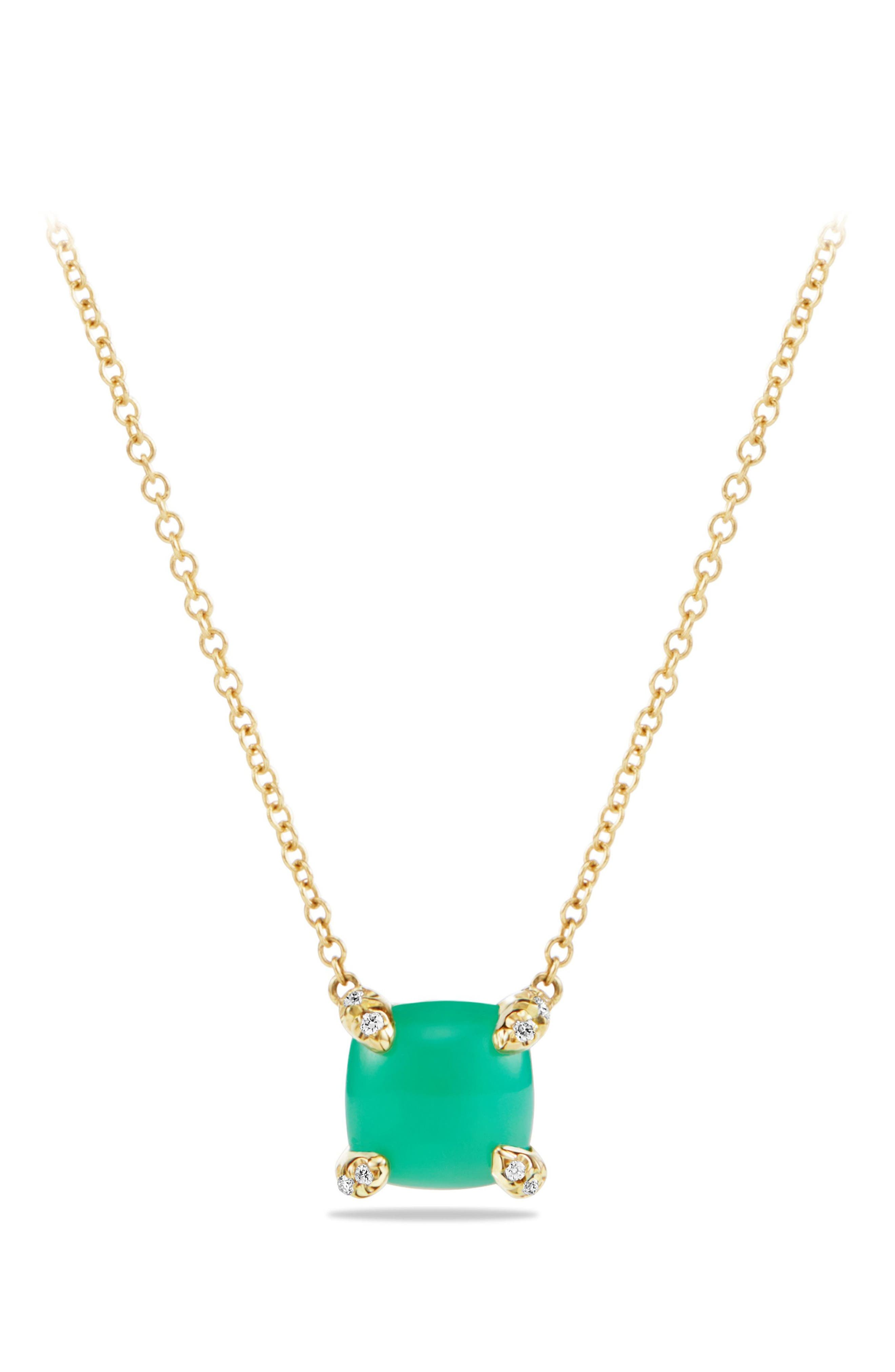 'Châtelaine' Pendant Necklace with Semiprecious Stone and Diamonds in 18K Gold,                         Main,                         color, CHRYSOPRASE