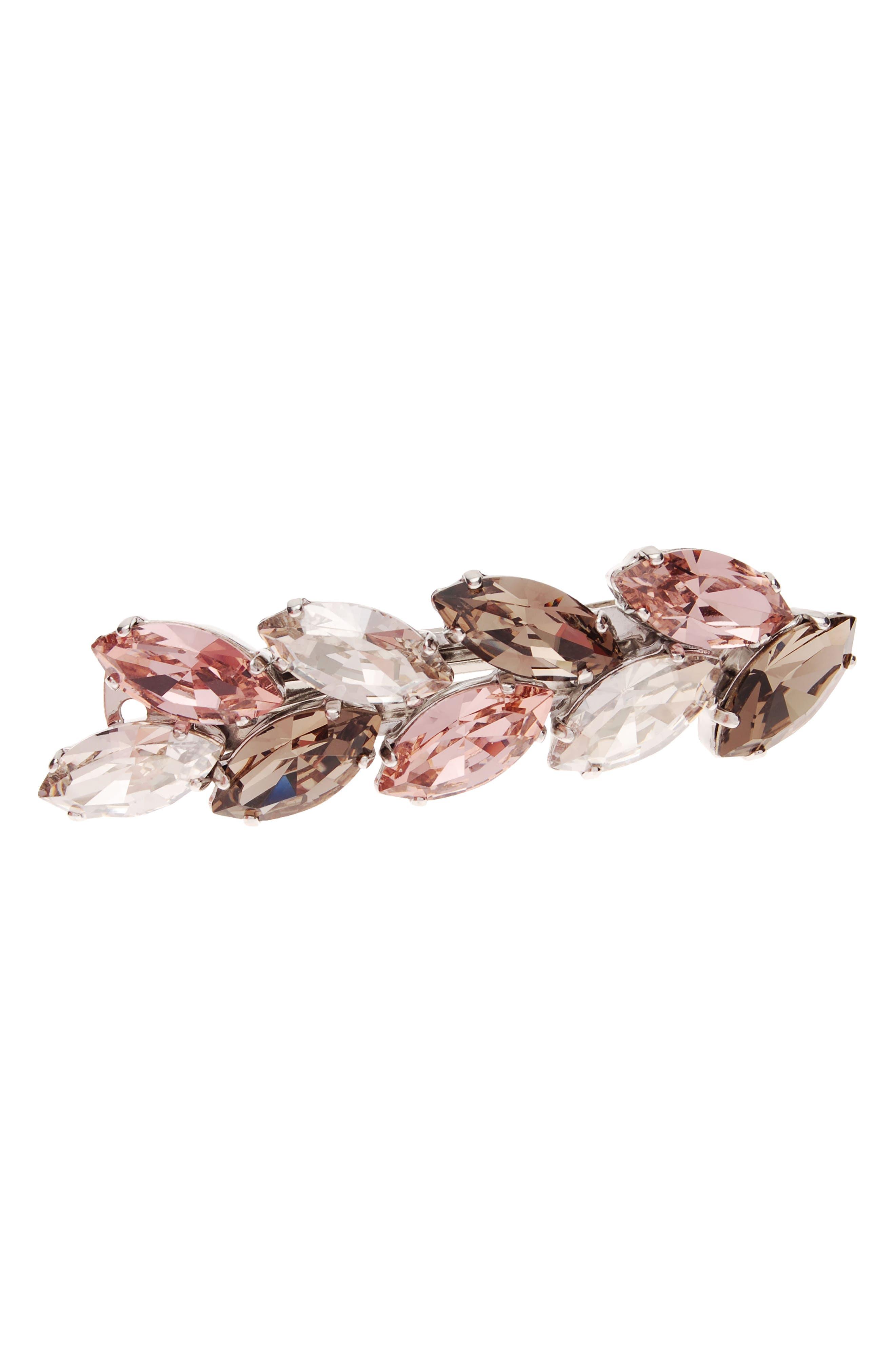 Small Ivy Swarovski Crystal Barrette,                             Main thumbnail 1, color,                             VINTAGE ROSE/ BEIGE