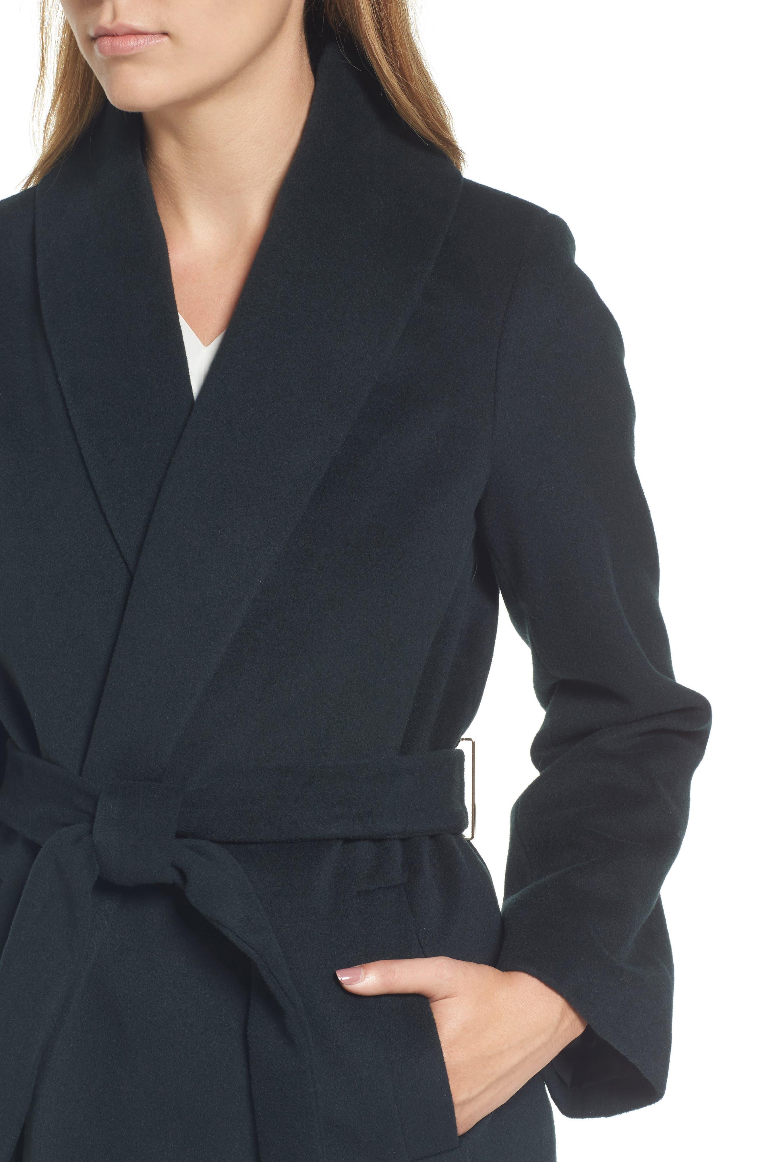 Gabrielle Wool Blend Long Wrap Coat,                             Alternate thumbnail 4, color,                             354