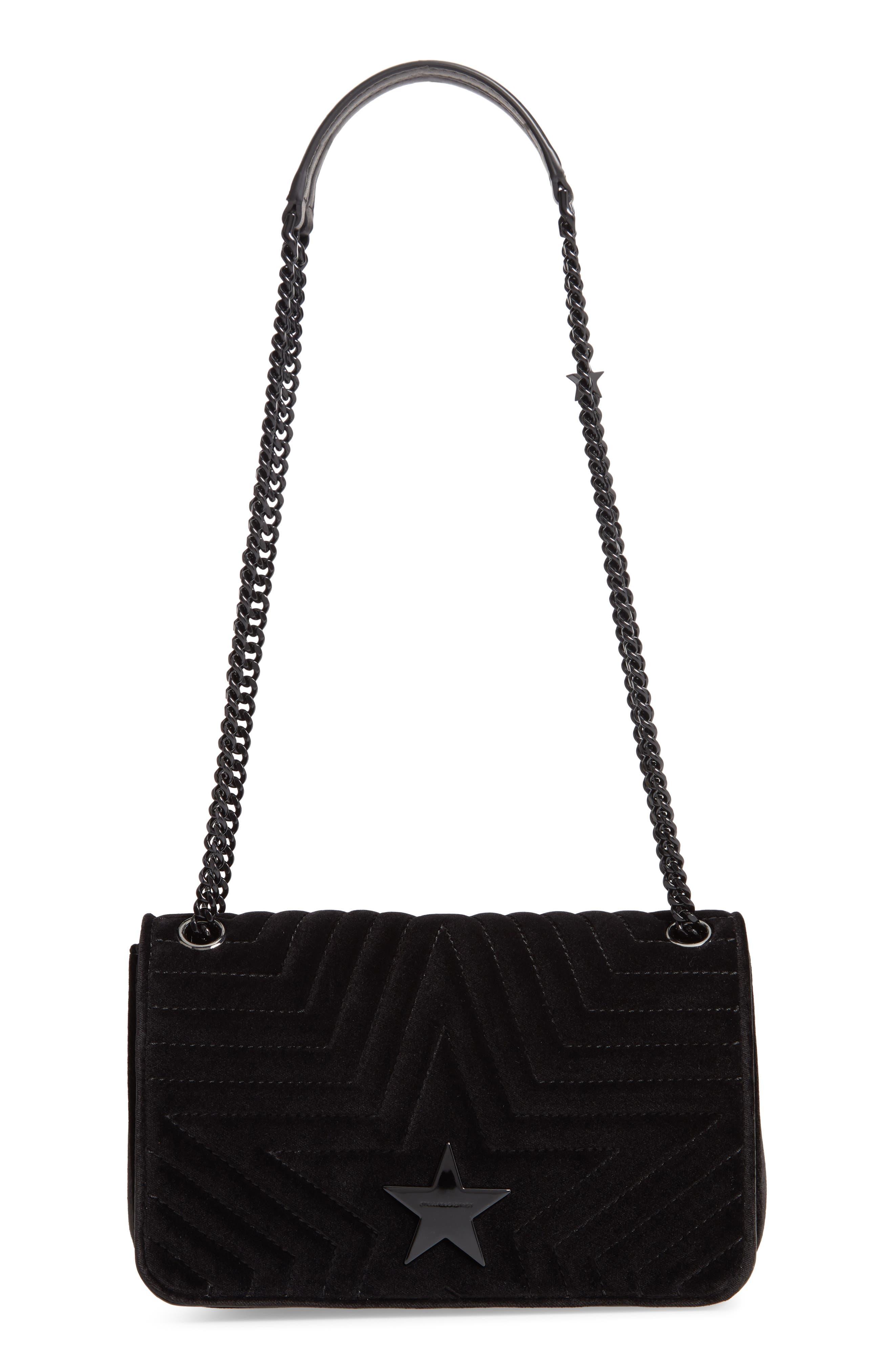 Medium Velvet Star Shoulder Bag,                             Main thumbnail 1, color,                             BLACK