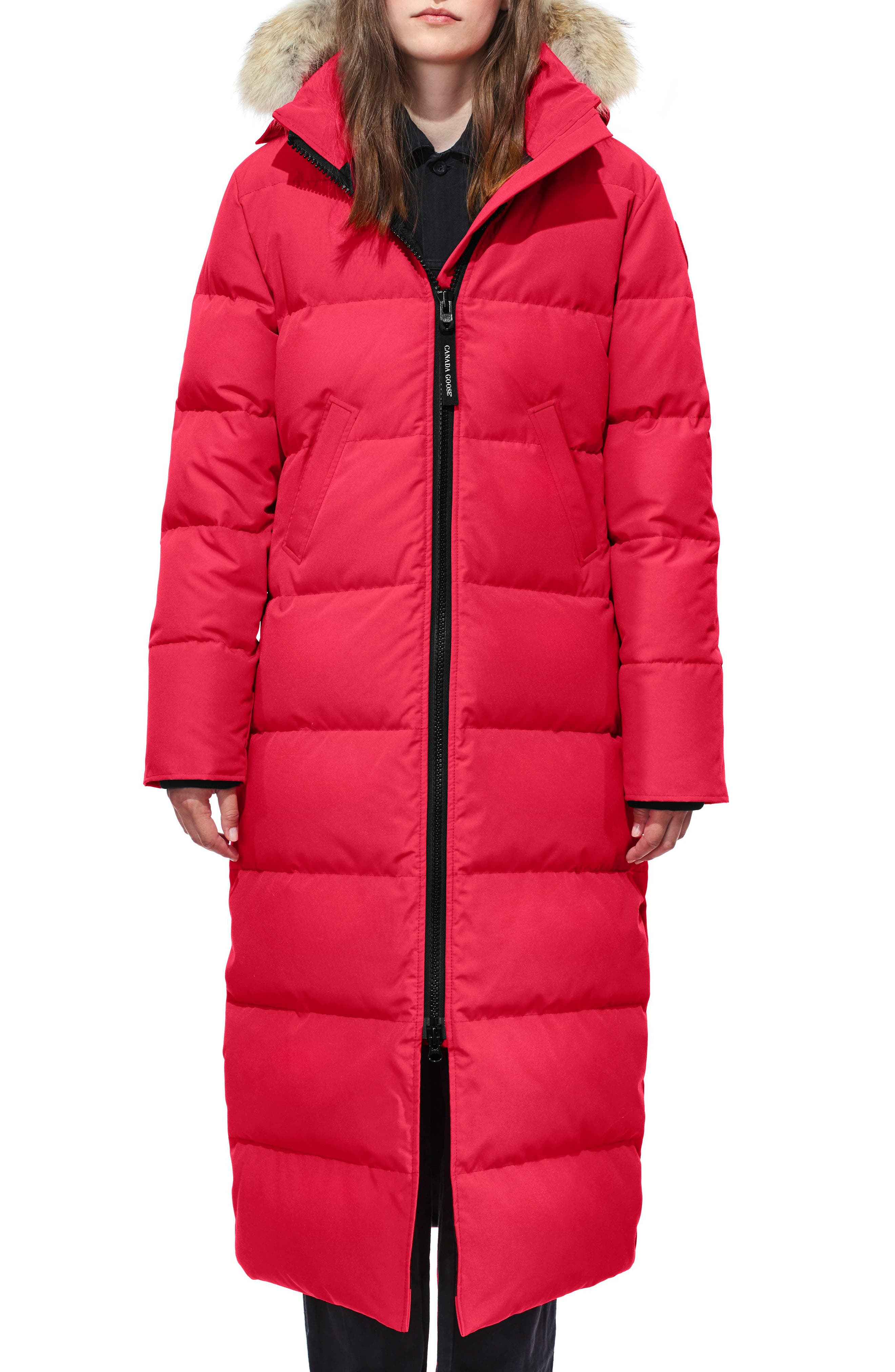 Petite Canada Goose Mystique Fusion Fit Down Parka With Genuine Coyote Fur, P (000-00P) - Red