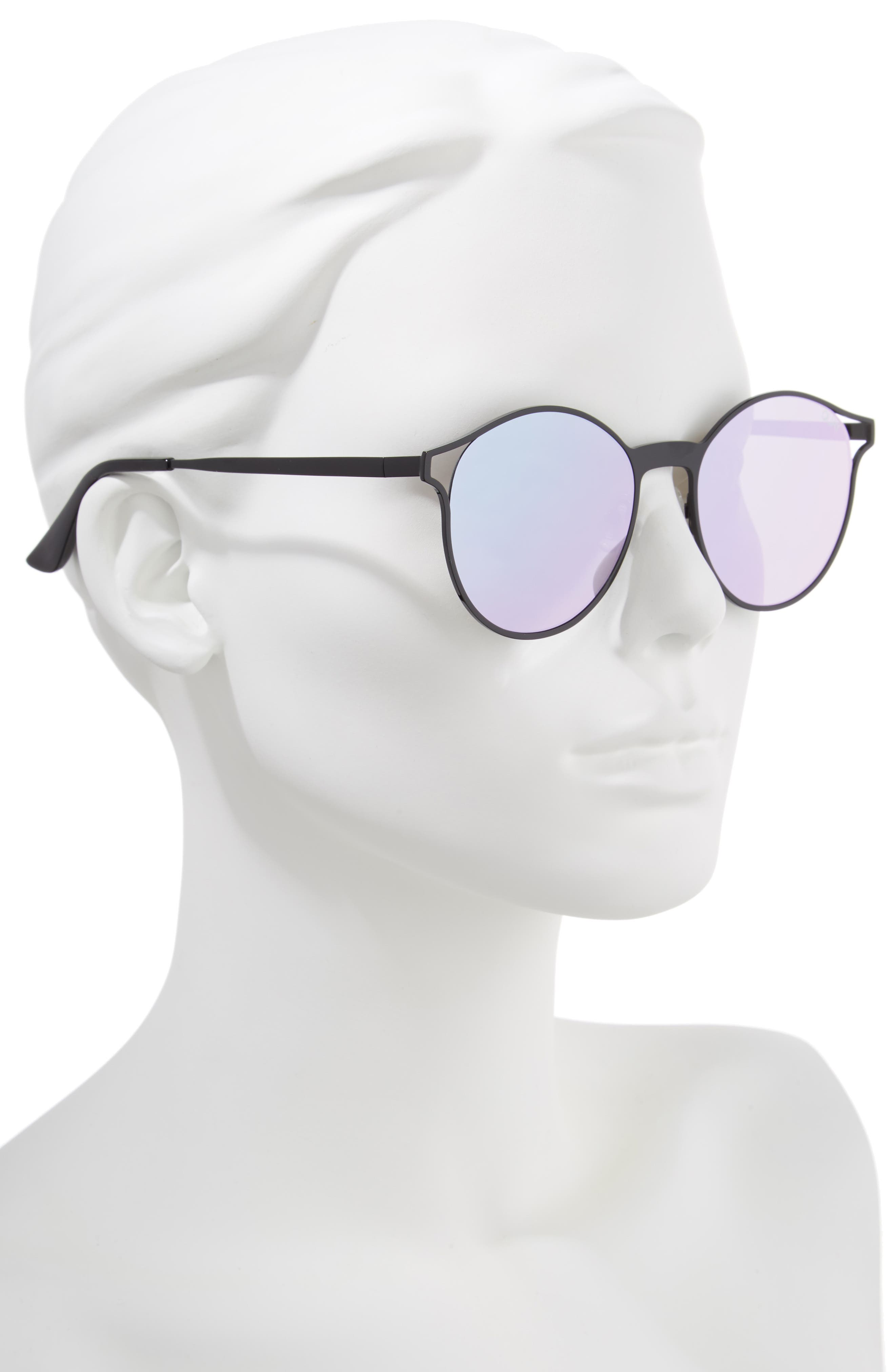 Here We Are 53mm Round Sunglasses,                             Alternate thumbnail 2, color,                             BLACK/ PURPLE