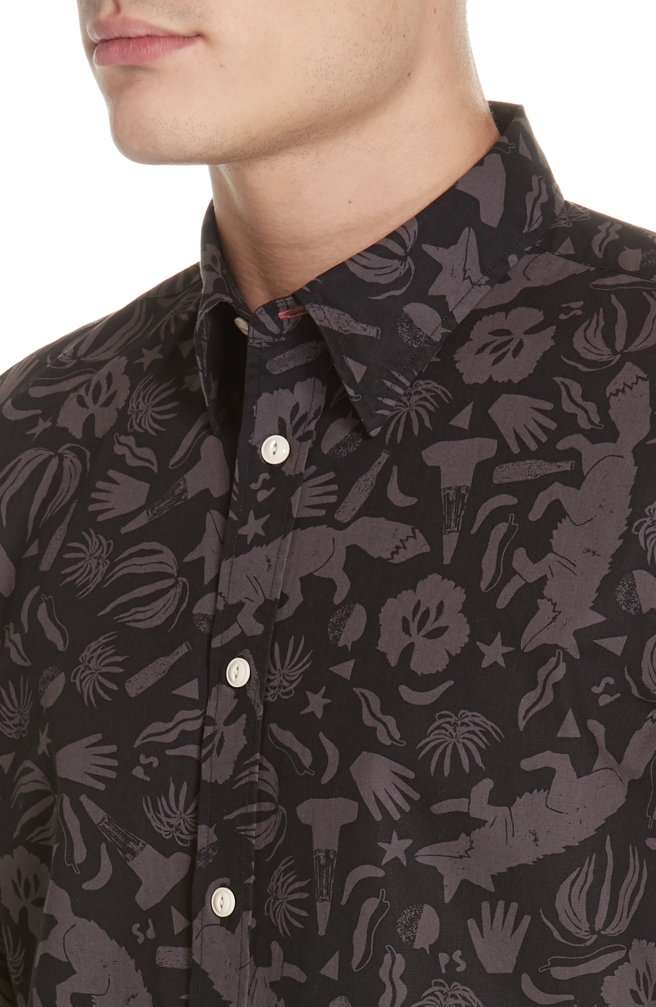 Palm Print Sport Shirt,                             Alternate thumbnail 2, color,                             BLACK AND BLUE