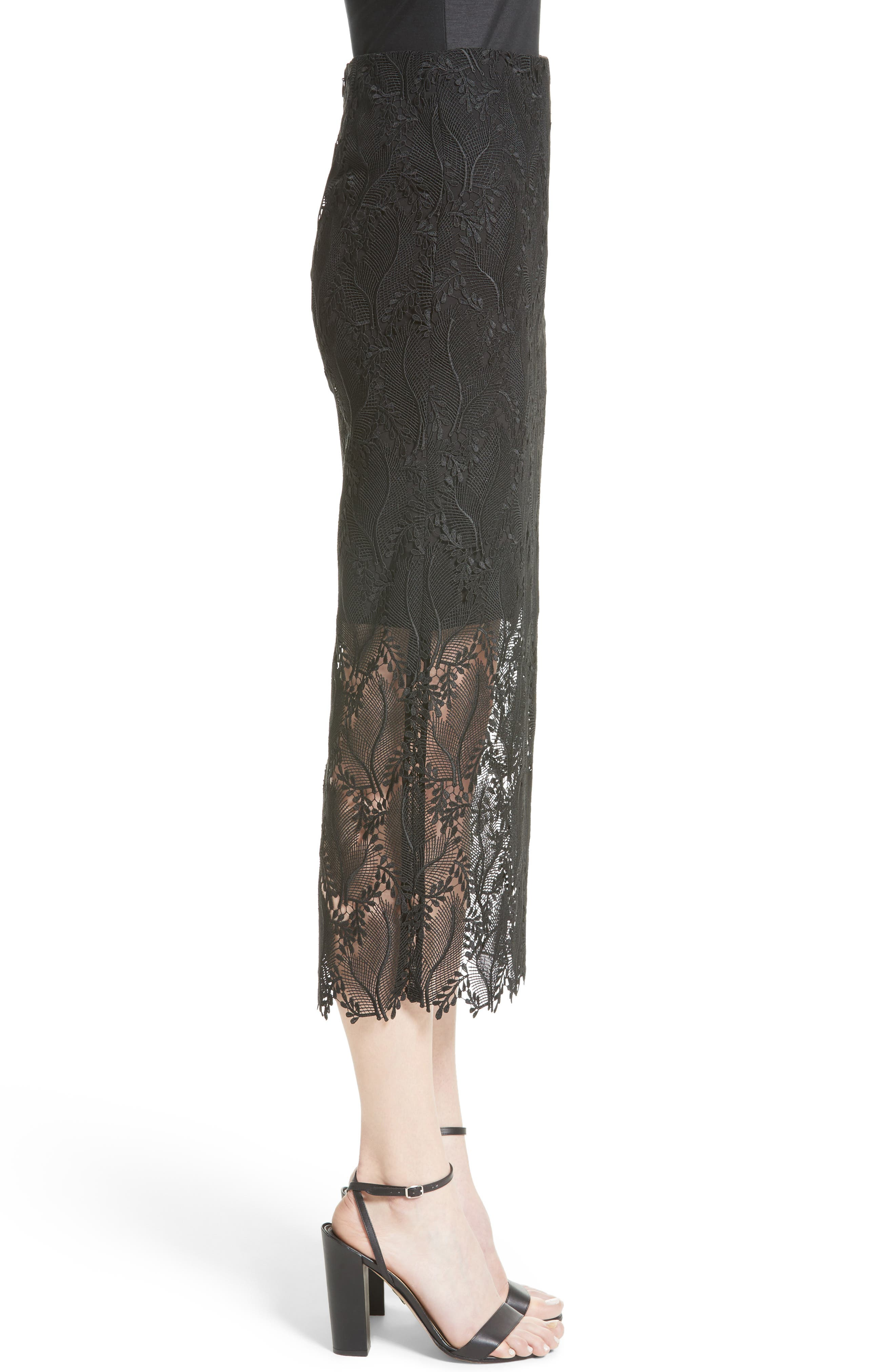 Lace Overlay Pencil Skirt,                             Alternate thumbnail 3, color,                             001