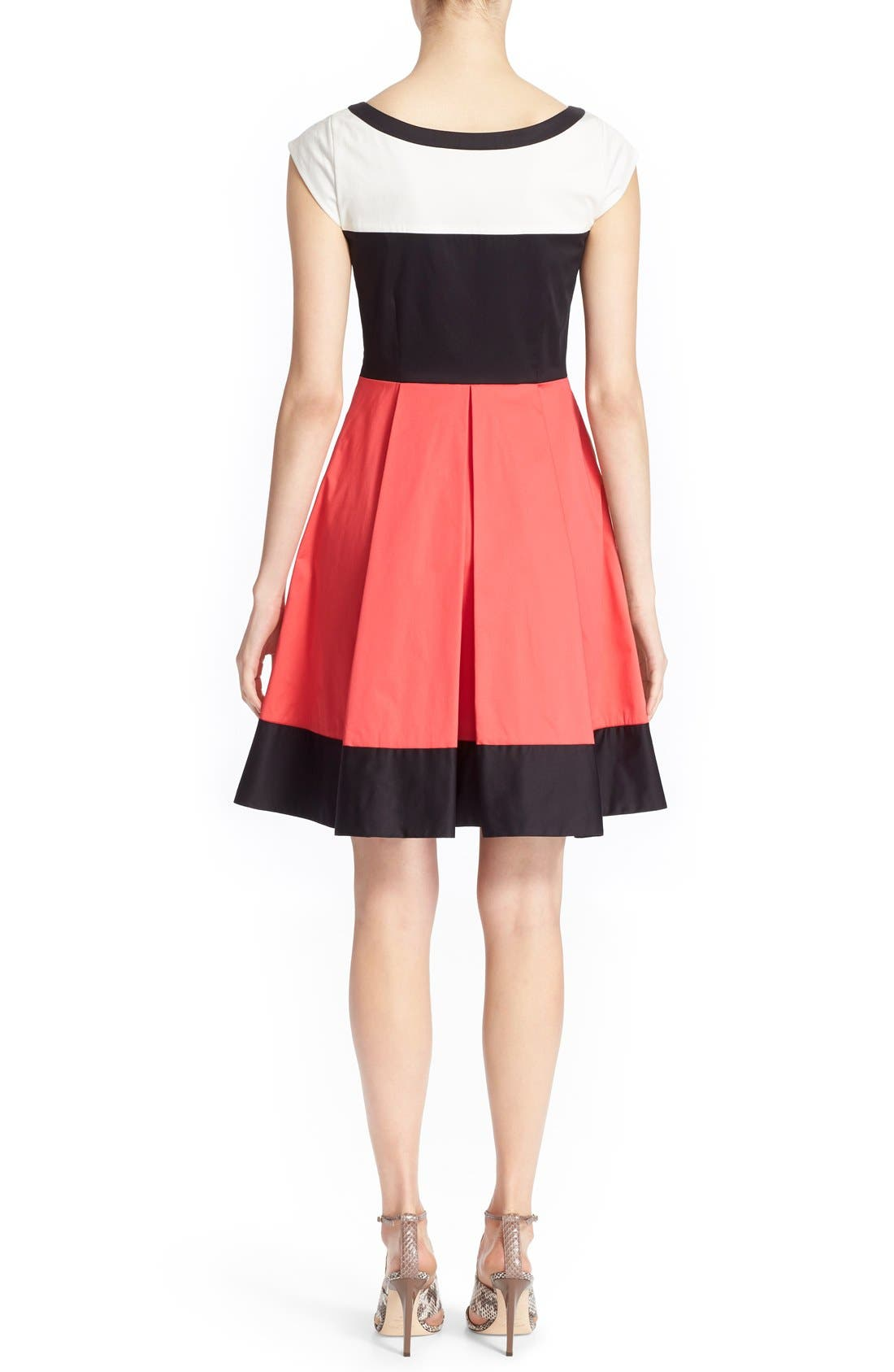 'adette' colorblock fit & flare dress,                             Alternate thumbnail 6, color,                             110