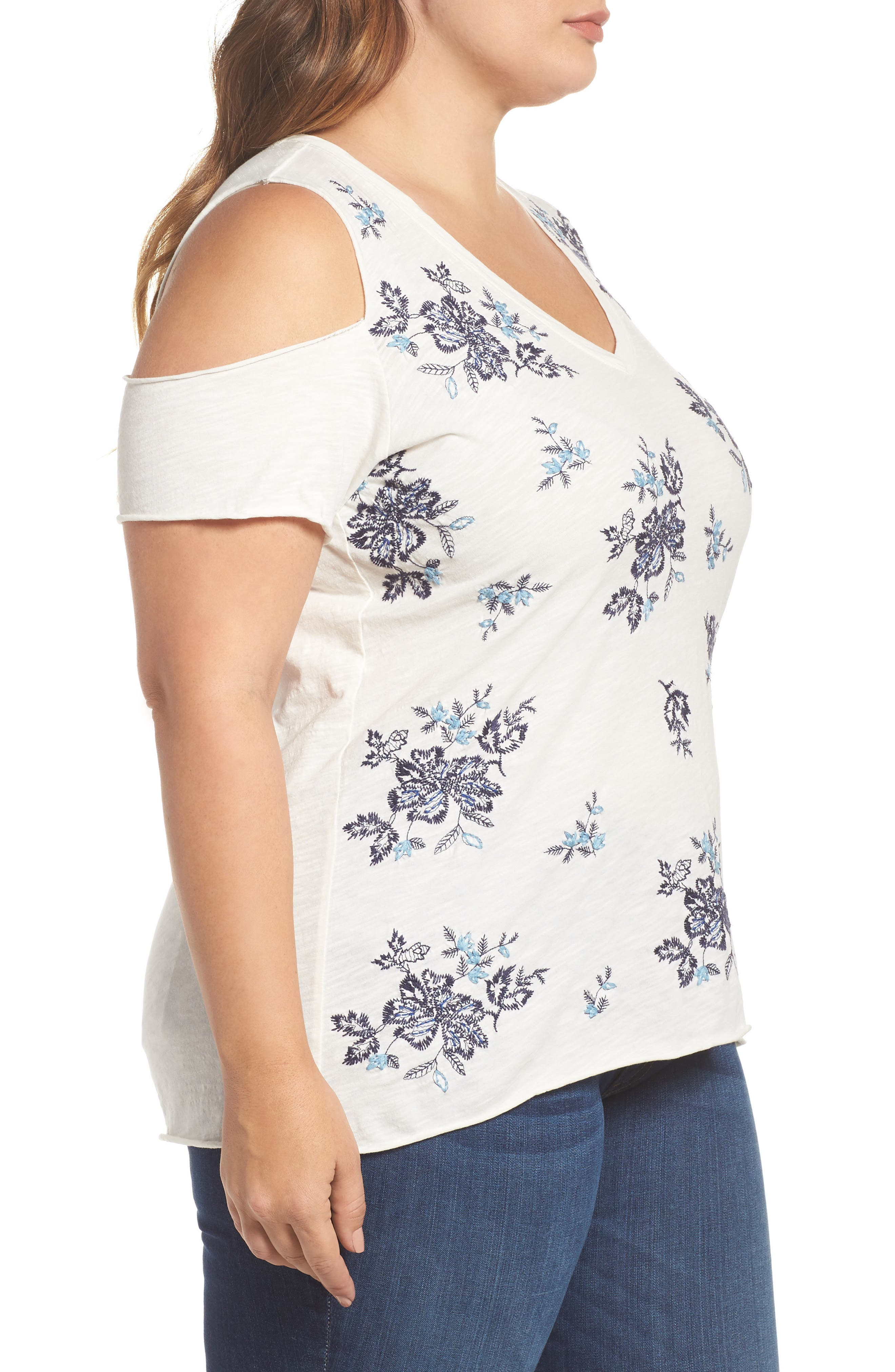 Embroidered Cold Shoulder Tee,                             Alternate thumbnail 3, color,