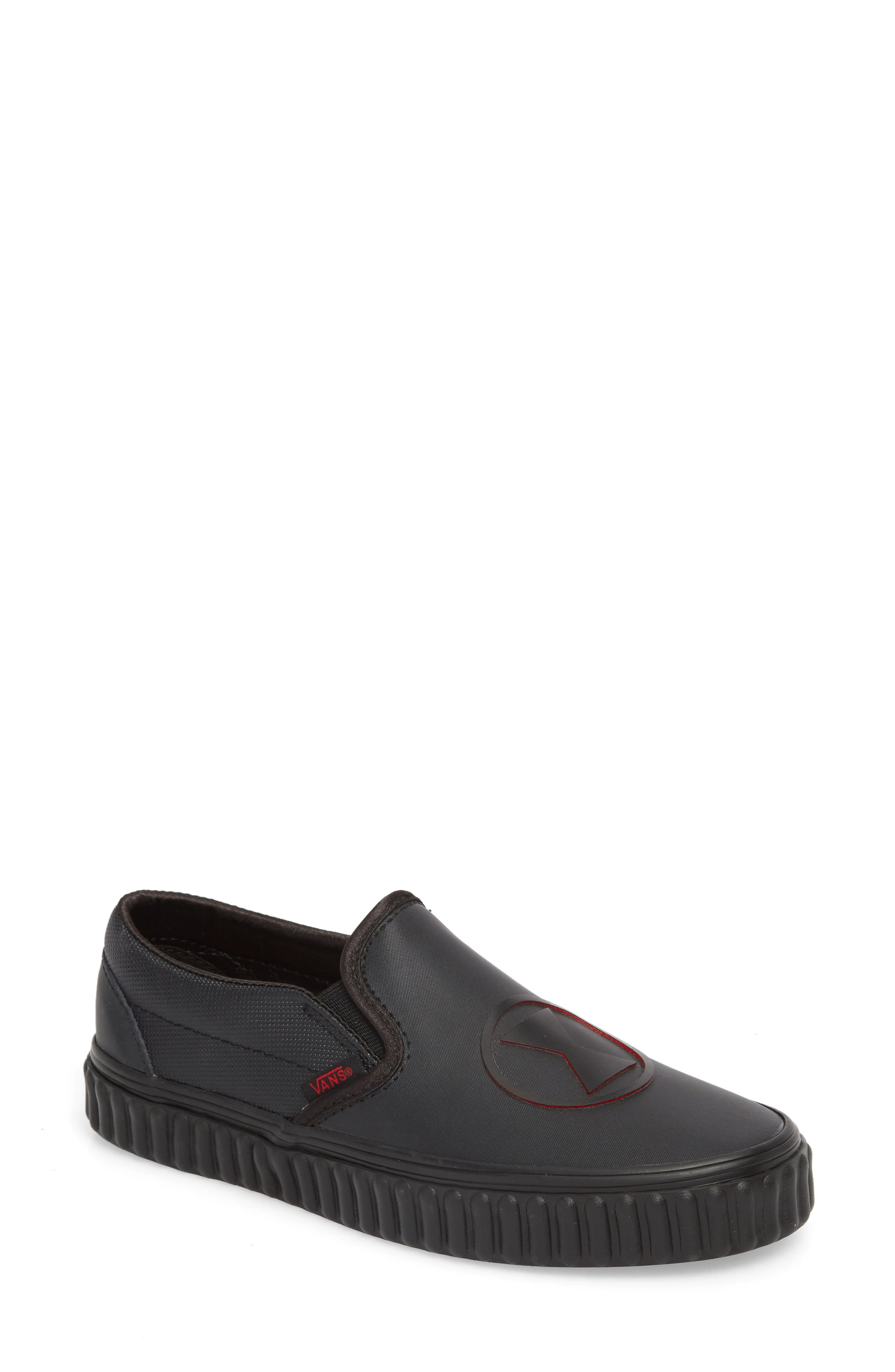 Marvel<sup>®</sup> Black Widow Classic Slip-On,                             Main thumbnail 1, color,                             MARVEL BLACK WIDOW/ BLACK