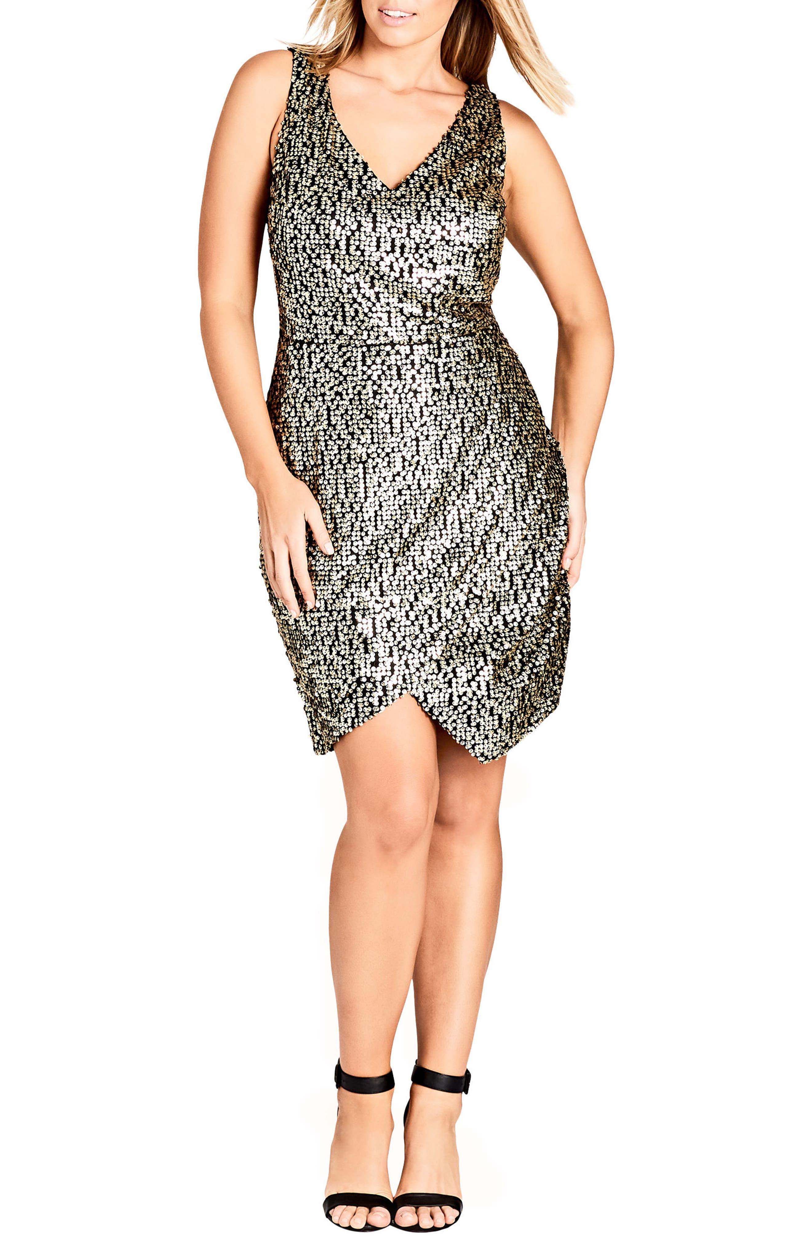 Dazzle Me V-Neck Sequin Dress,                             Main thumbnail 1, color,                             GOLD