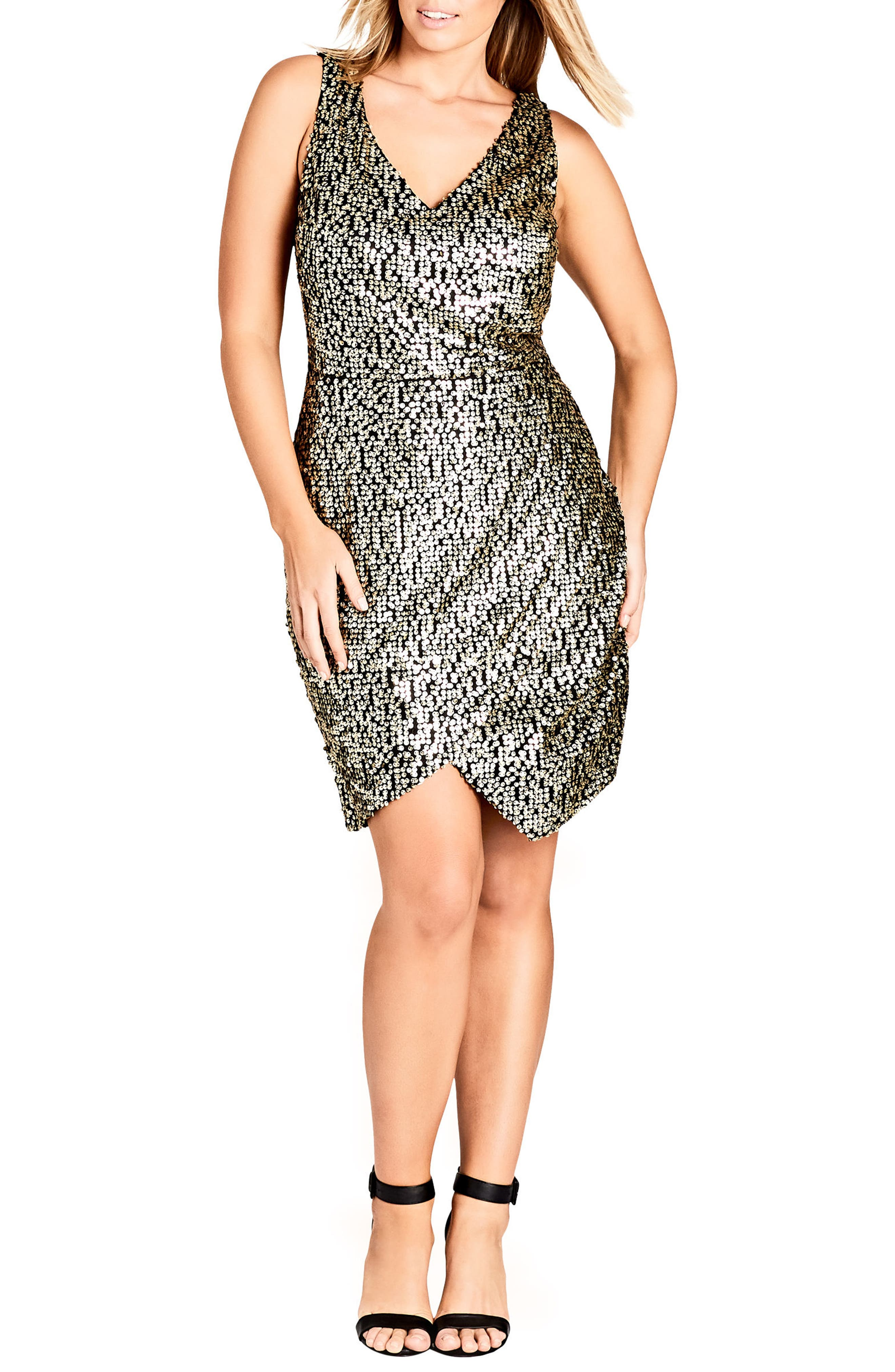 Dazzle Me V-Neck Sequin Dress,                         Main,                         color, GOLD
