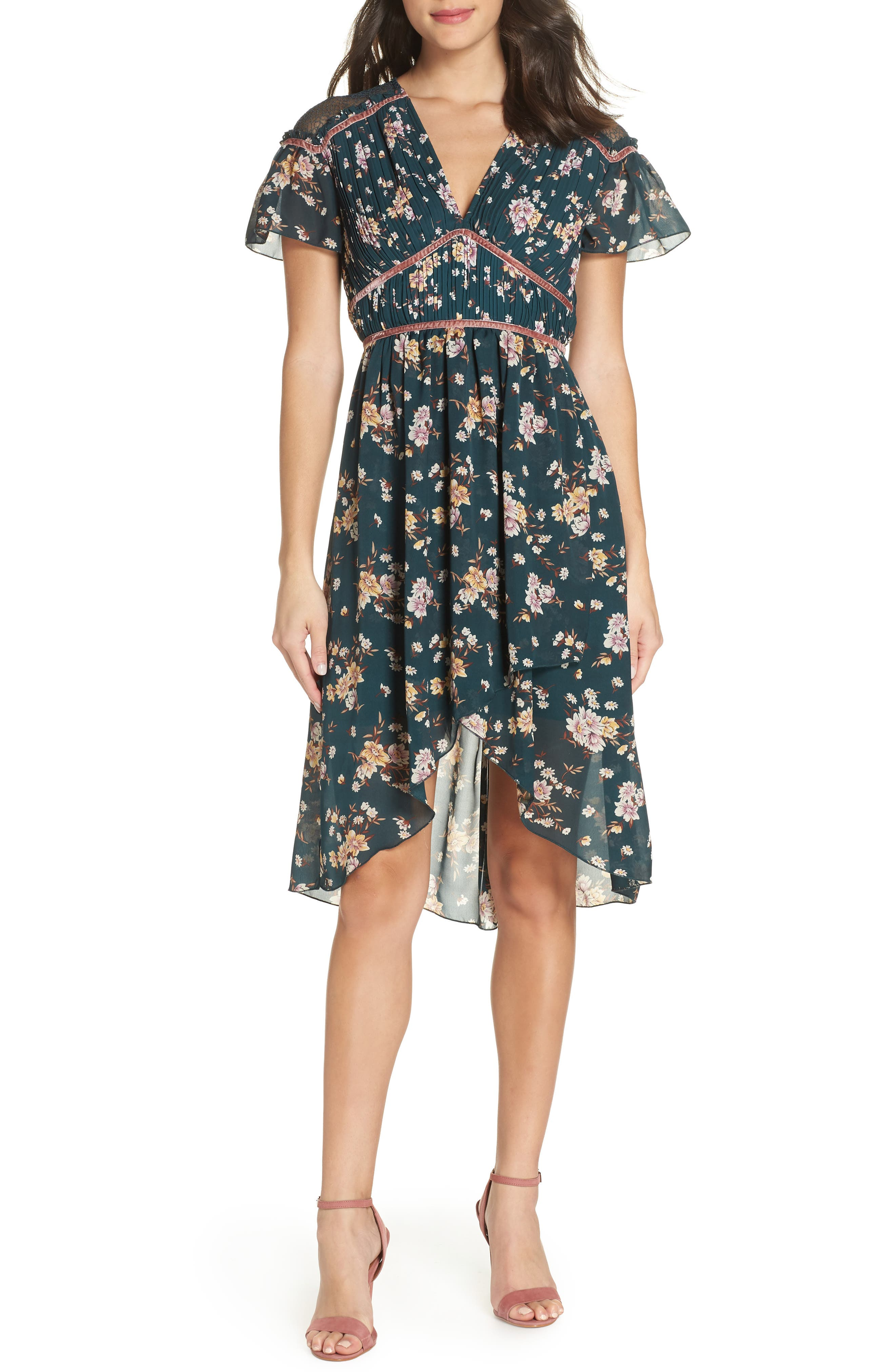 Floral Pleat & Lace Mix Dress,                         Main,                         color, GREEN BRANCHING LILIES