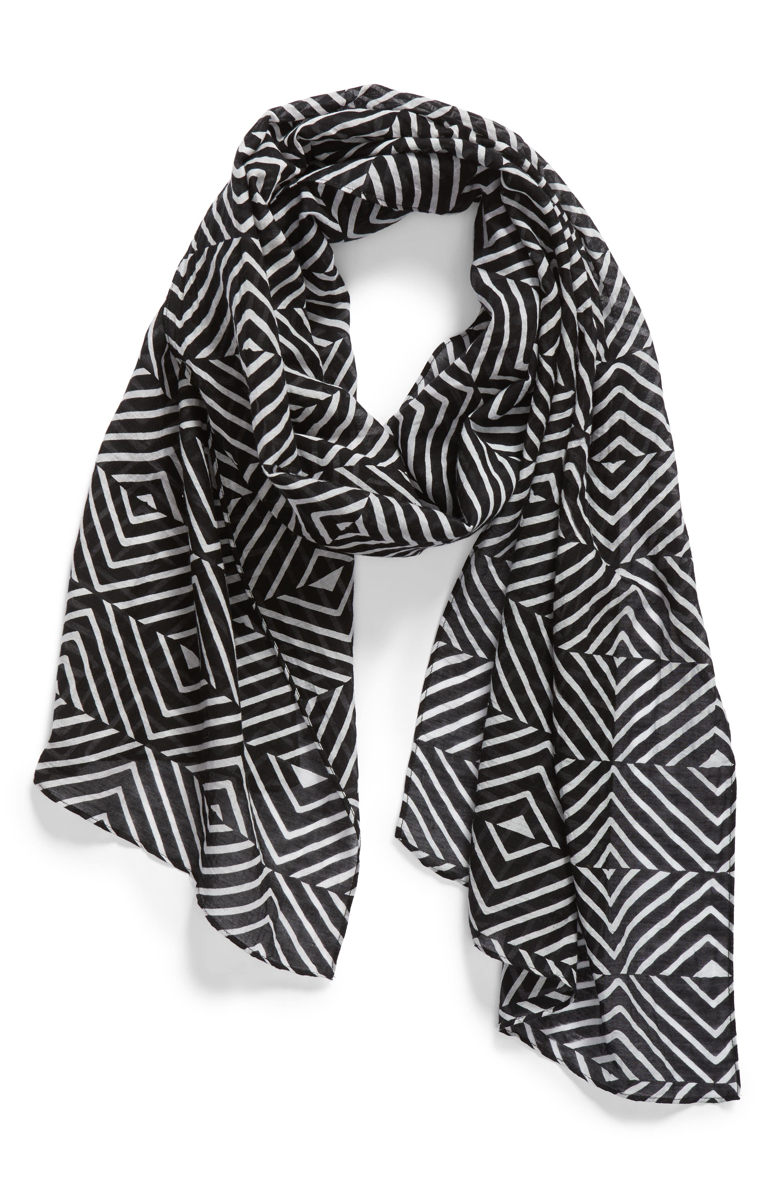 Geo Print Organic Cotton Blend Scarf,                             Alternate thumbnail 4, color,